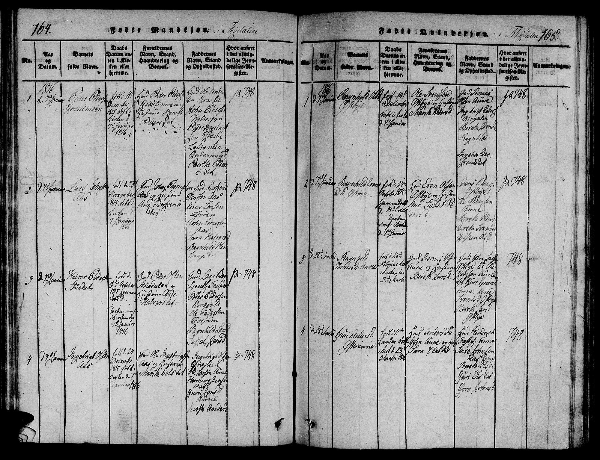 SAT, Ministerialprotokoller, klokkerbøker og fødselsregistre - Sør-Trøndelag, 695/L1142: Ministerialbok nr. 695A04 /2, 1816-1824, s. 164-165