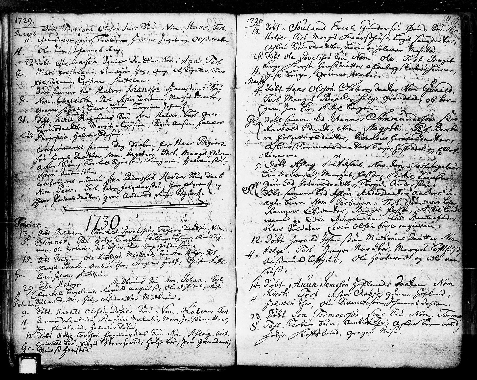 SAKO, Hjartdal kirkebøker, F/Fa/L0003: Ministerialbok nr. I 3, 1727-1775, s. 11