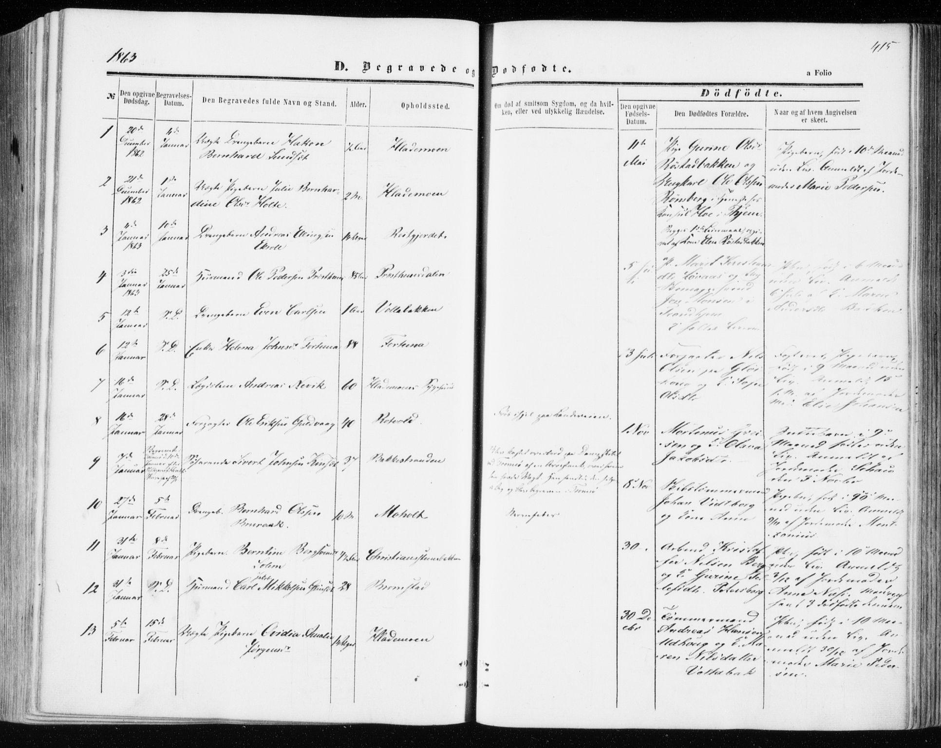 SAT, Ministerialprotokoller, klokkerbøker og fødselsregistre - Sør-Trøndelag, 606/L0292: Ministerialbok nr. 606A07, 1856-1865, s. 415