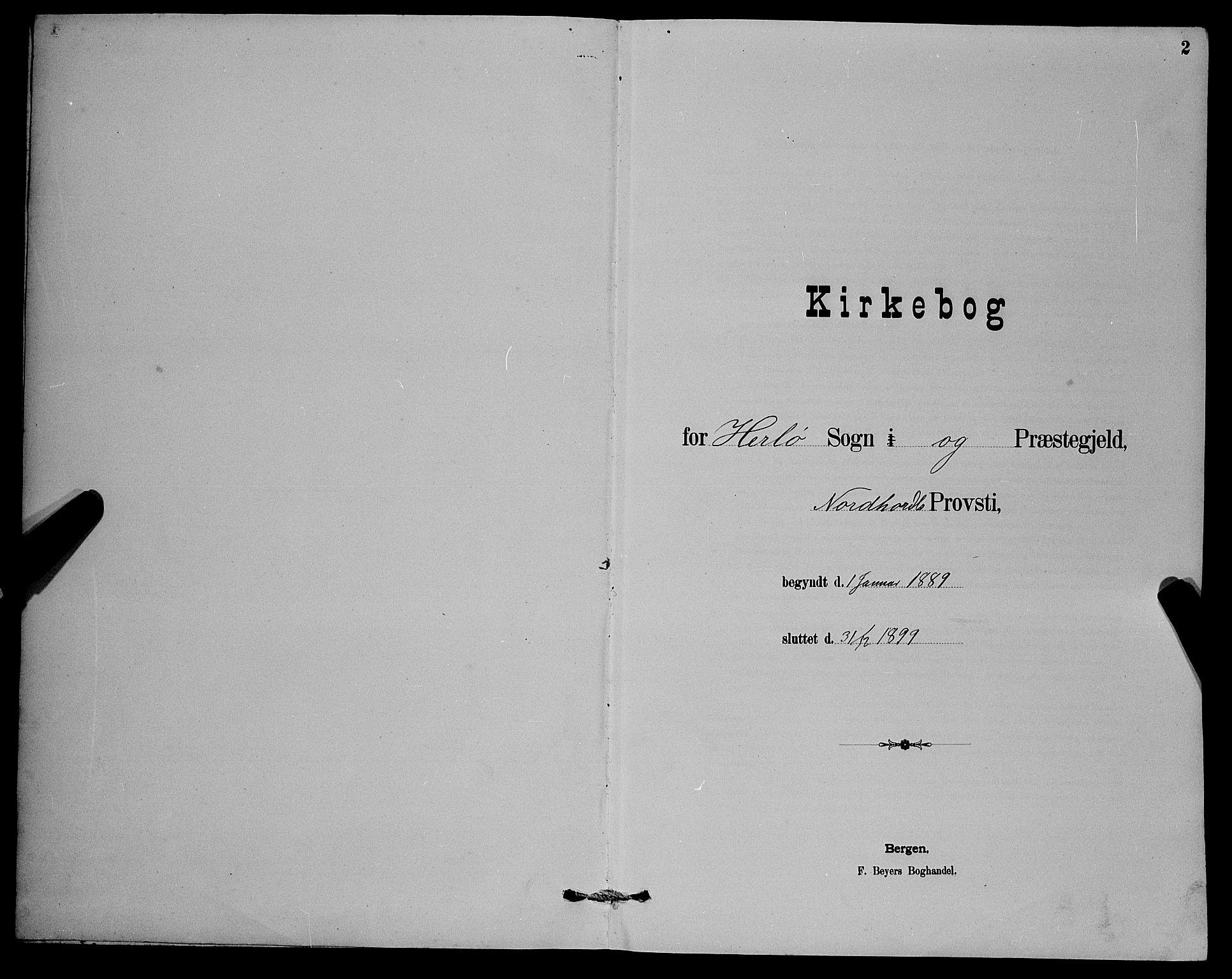 SAB, Herdla Sokneprestembete, H/Hab: Klokkerbok nr. A 3, 1889-1899