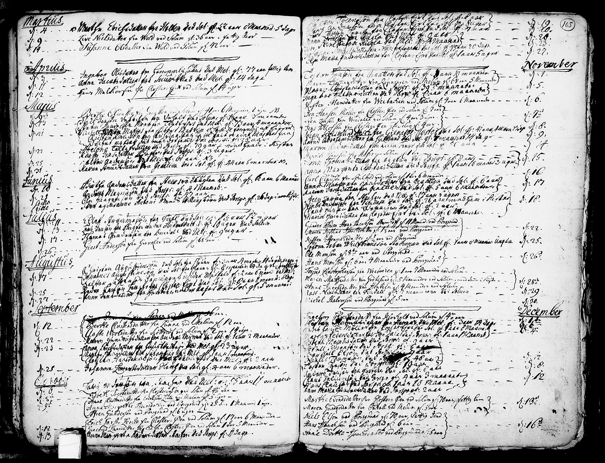 SAKO, Solum kirkebøker, F/Fa/L0002: Ministerialbok nr. I 2, 1713-1761, s. 165