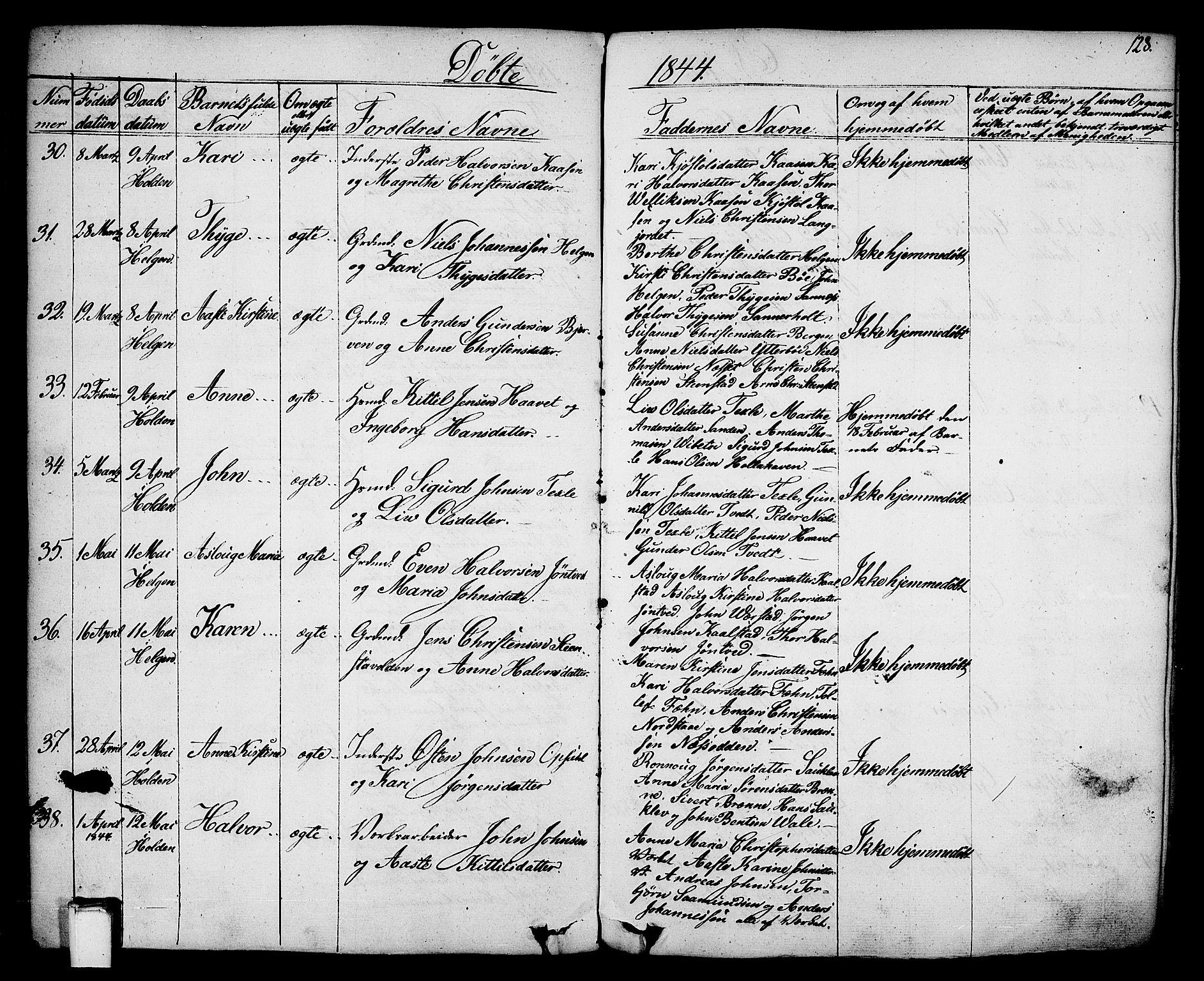 SAKO, Holla kirkebøker, F/Fa/L0004: Ministerialbok nr. 4, 1830-1848, s. 128
