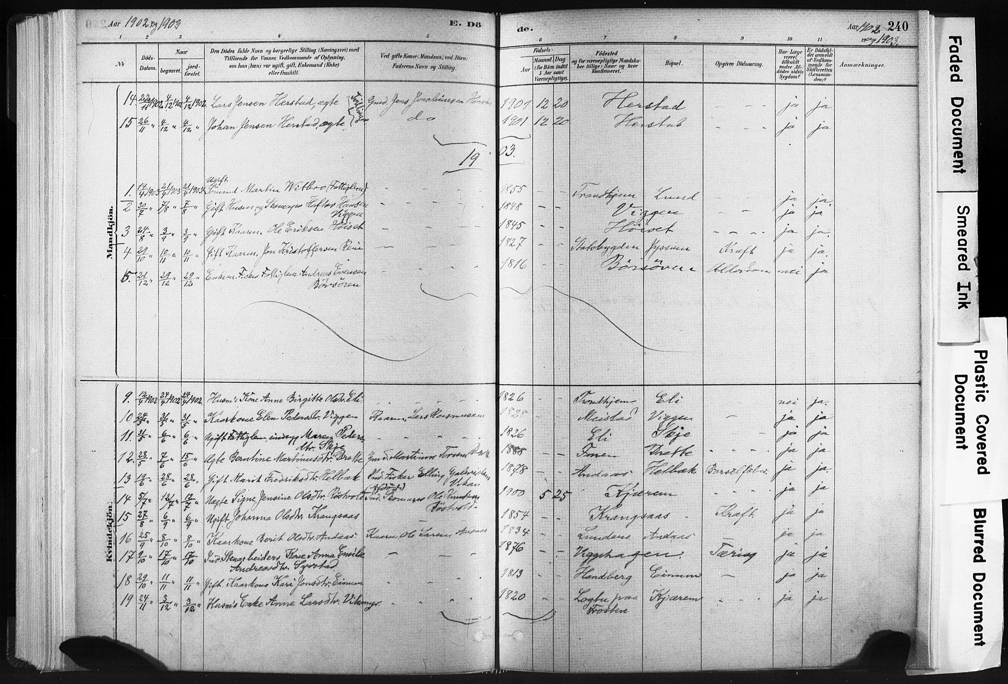 SAT, Ministerialprotokoller, klokkerbøker og fødselsregistre - Sør-Trøndelag, 665/L0773: Ministerialbok nr. 665A08, 1879-1905, s. 240