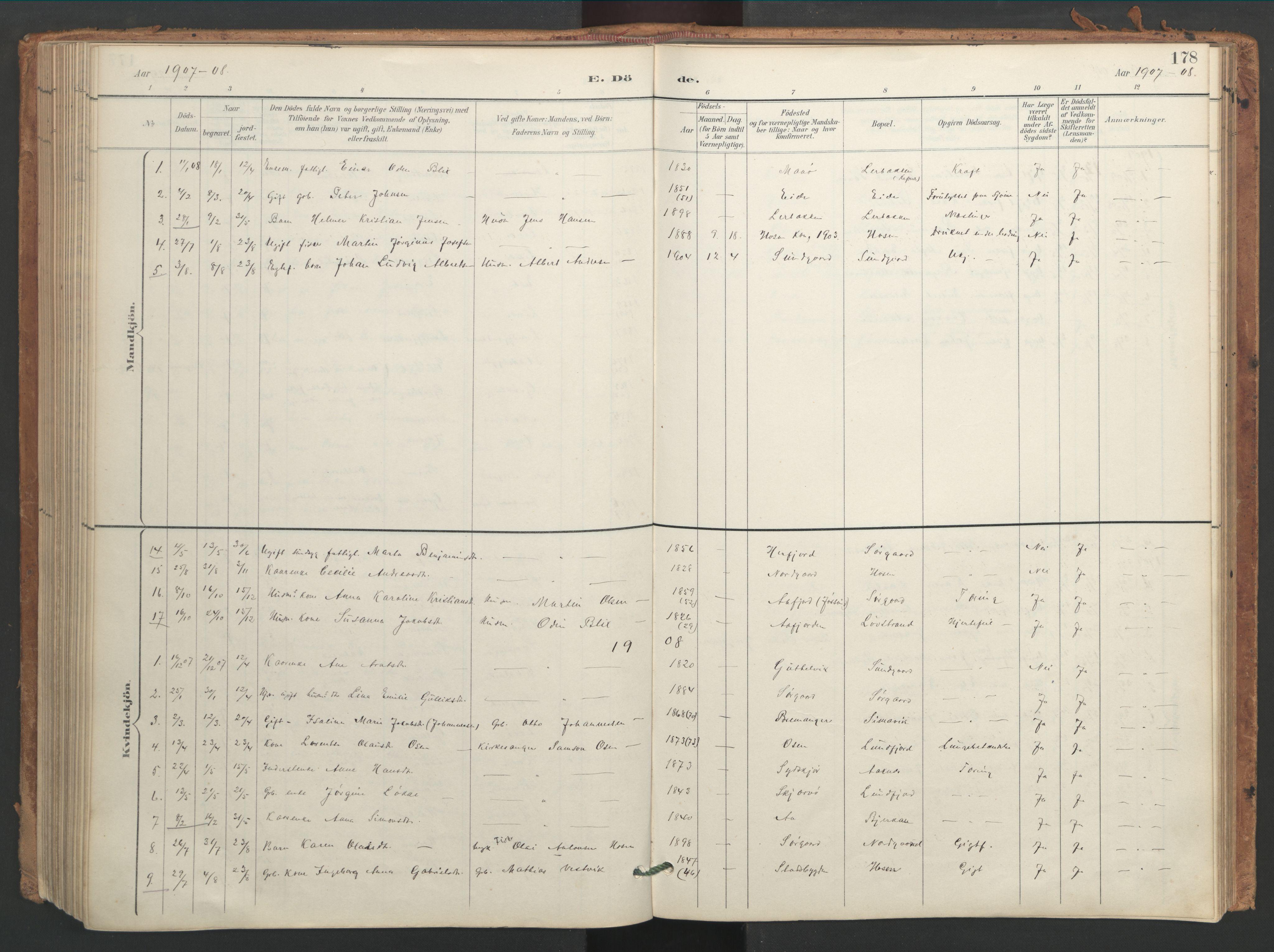 SAT, Ministerialprotokoller, klokkerbøker og fødselsregistre - Sør-Trøndelag, 656/L0693: Ministerialbok nr. 656A02, 1894-1913, s. 178