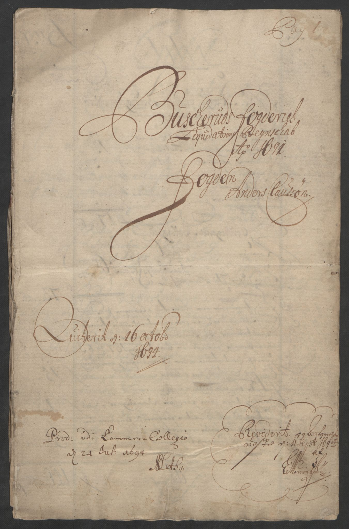 RA, Rentekammeret inntil 1814, Reviderte regnskaper, Fogderegnskap, R25/L1681: Fogderegnskap Buskerud, 1691-1692, s. 3