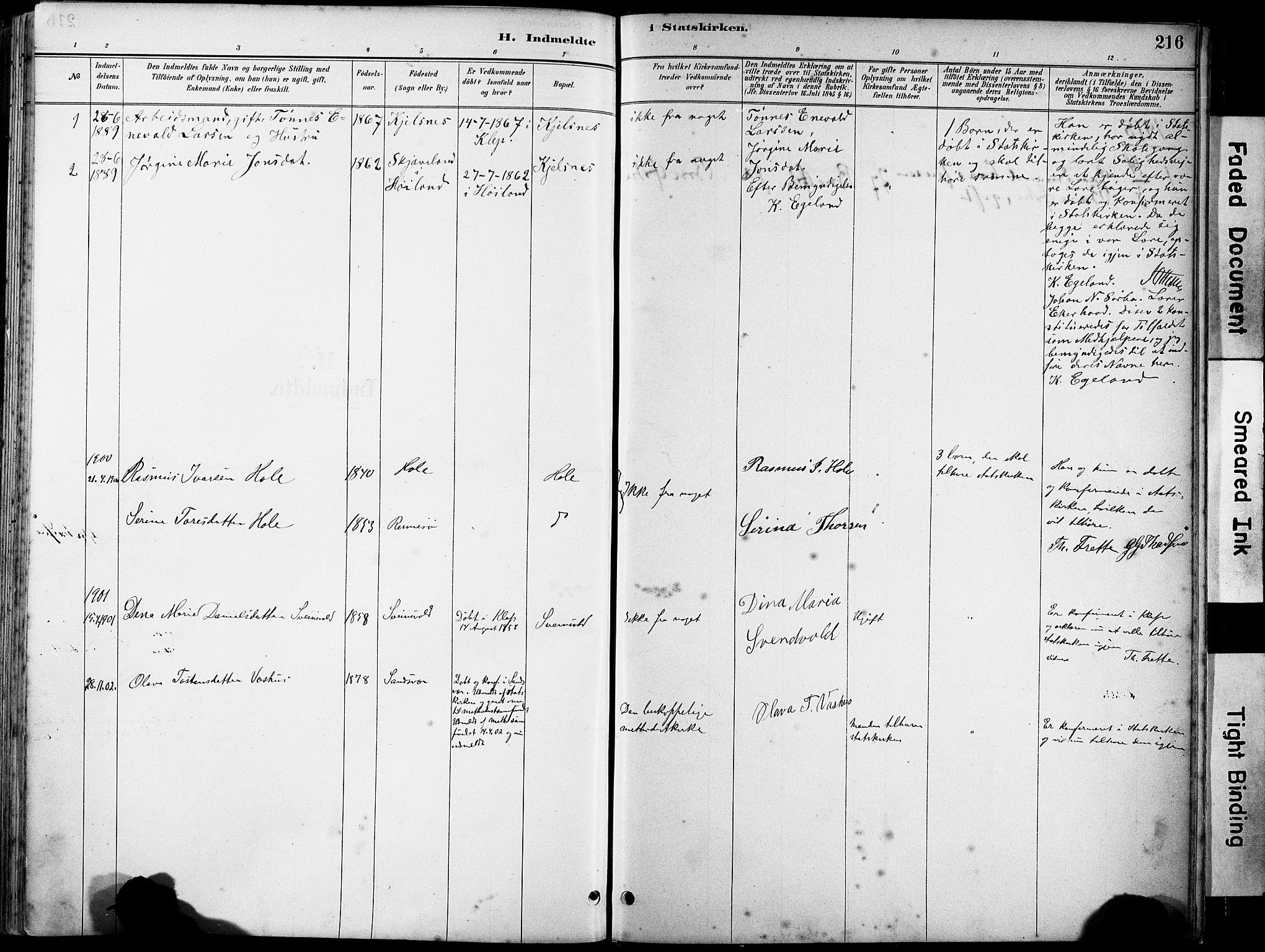 SAST, Klepp sokneprestkontor, 3/30BA/L0008: Ministerialbok nr. A 9, 1886-1919, s. 216