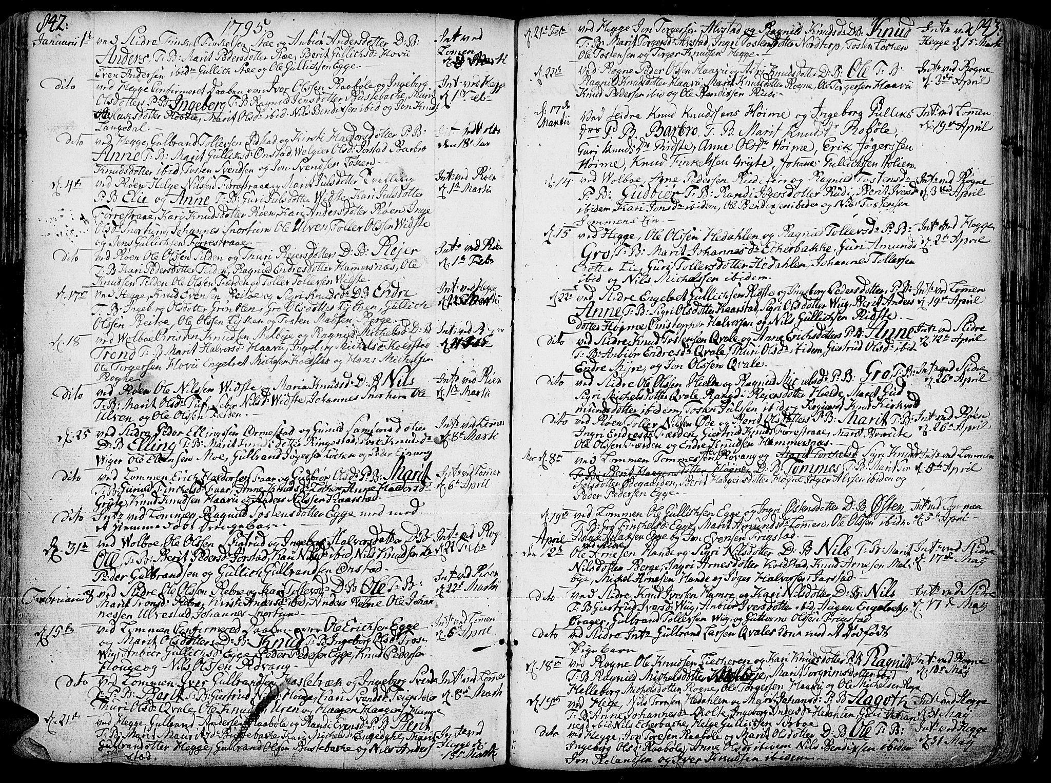 SAH, Slidre prestekontor, Ministerialbok nr. 1, 1724-1814, s. 842-843