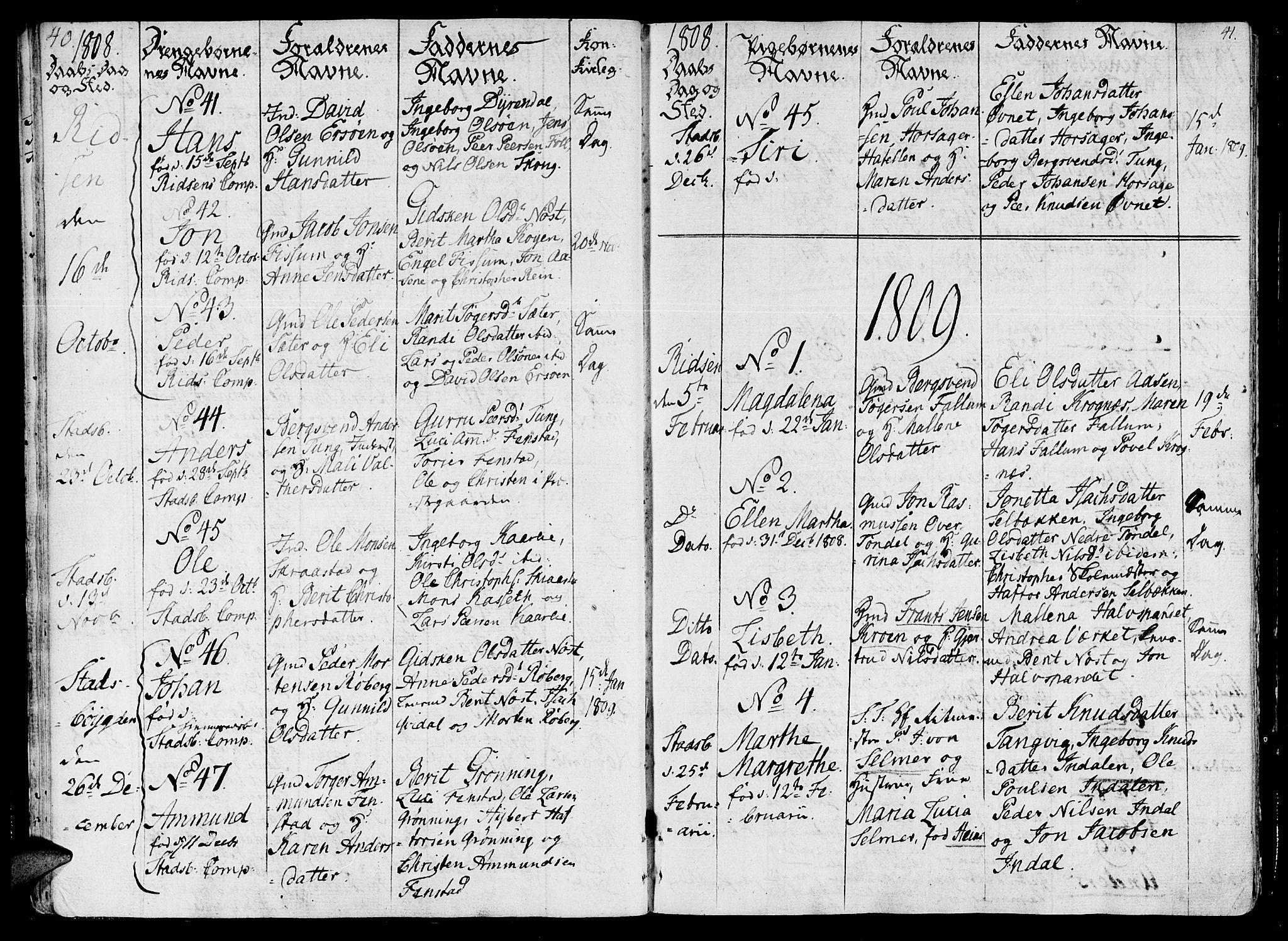 SAT, Ministerialprotokoller, klokkerbøker og fødselsregistre - Sør-Trøndelag, 646/L0607: Ministerialbok nr. 646A05, 1806-1815, s. 40-41