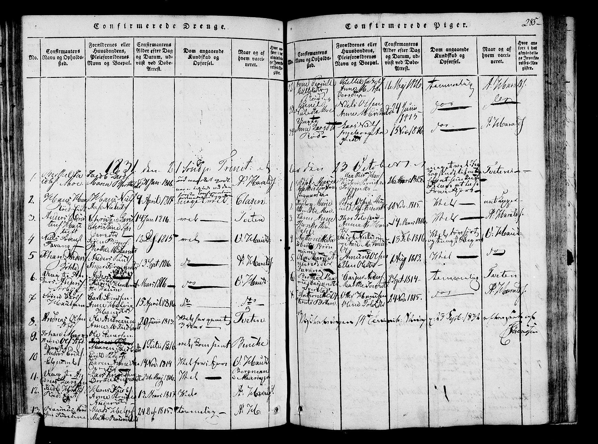 SAKO, Sandar kirkebøker, F/Fa/L0004: Ministerialbok nr. 4, 1814-1832, s. 285