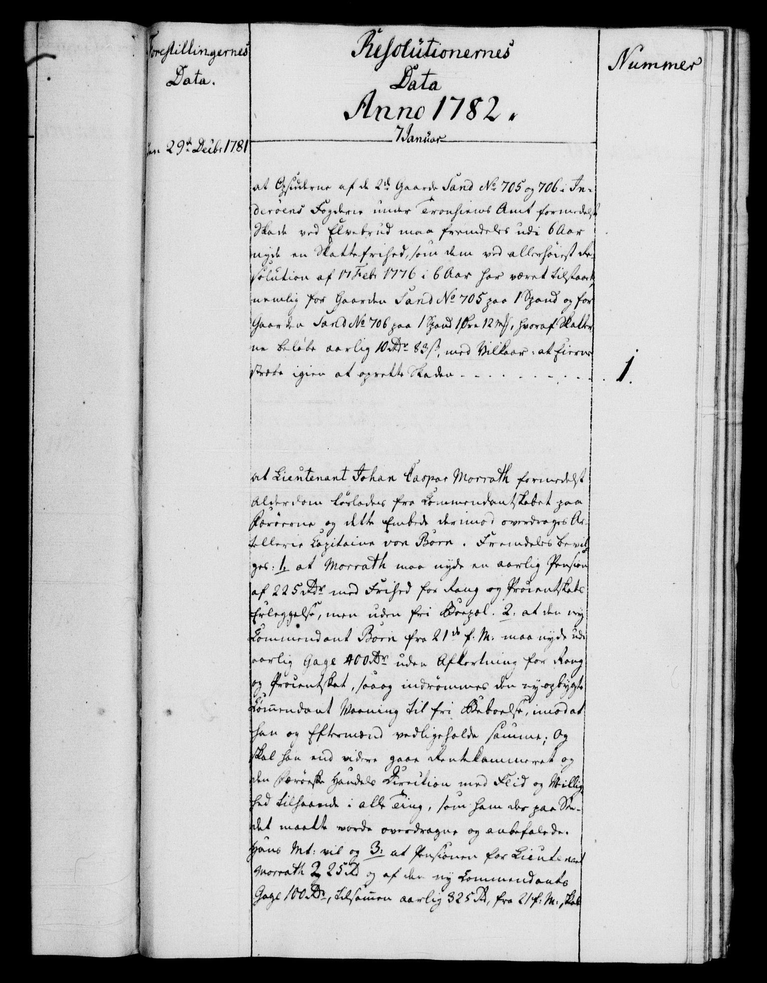 RA, Rentekammeret, Kammerkanselliet, G/Gf/Gfb/L0011: Register til norske relasjons- og resolusjonsprotokoller (merket RK 52.106), 1781-1782, s. 134
