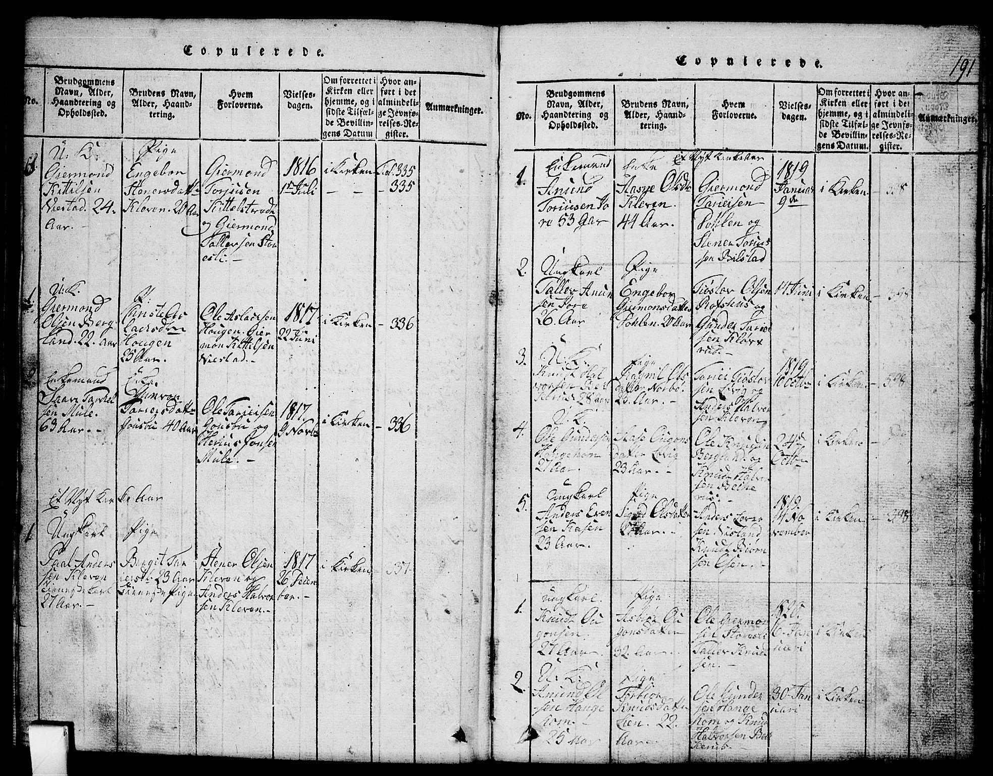 SAKO, Mo kirkebøker, G/Gb/L0001: Klokkerbok nr. II 1, 1814-1843, s. 191