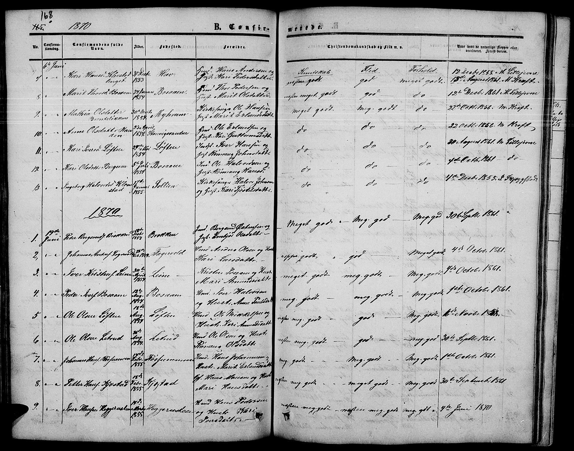 SAH, Nord-Fron prestekontor, Klokkerbok nr. 3, 1851-1886, s. 168