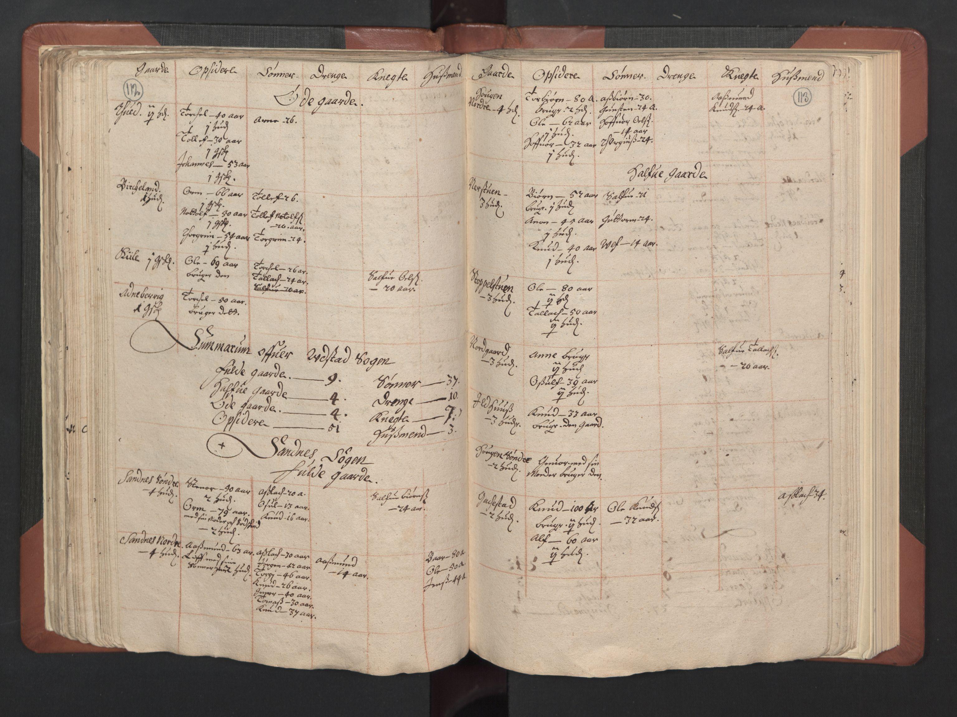 RA, Fogdenes og sorenskrivernes manntall 1664-1666, nr. 8: Råbyggelaget fogderi, 1664-1665, s. 112-113