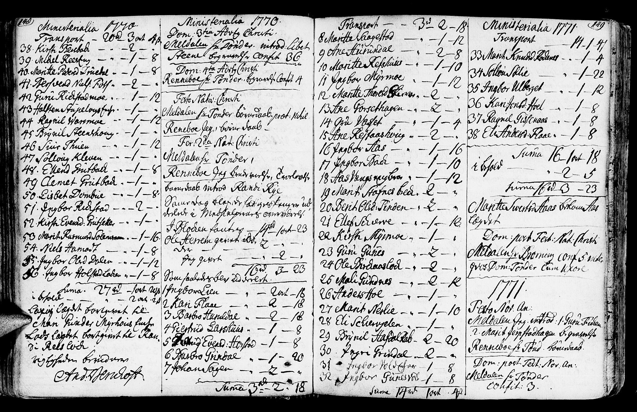 SAT, Ministerialprotokoller, klokkerbøker og fødselsregistre - Sør-Trøndelag, 672/L0851: Ministerialbok nr. 672A04, 1751-1775, s. 148-149