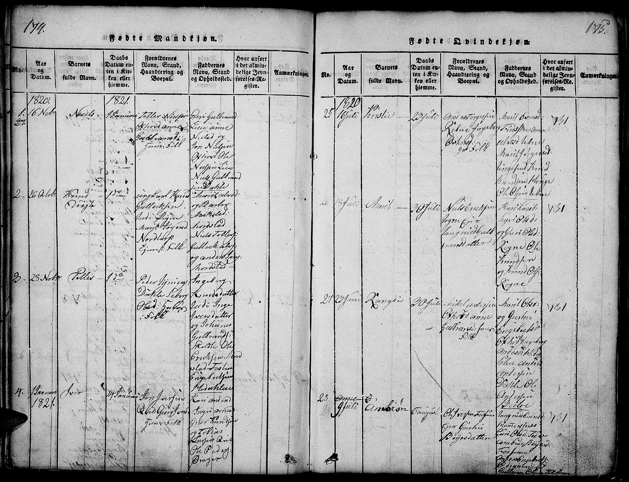 SAH, Slidre prestekontor, Ministerialbok nr. 2, 1814-1830, s. 174-175
