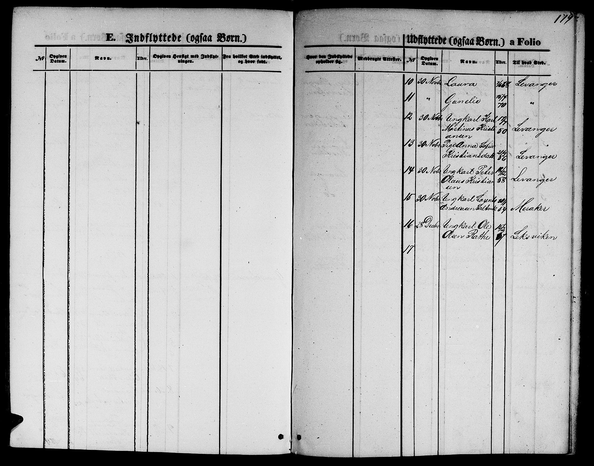 SAT, Ministerialprotokoller, klokkerbøker og fødselsregistre - Nord-Trøndelag, 733/L0326: Klokkerbok nr. 733C01, 1871-1887, s. 179
