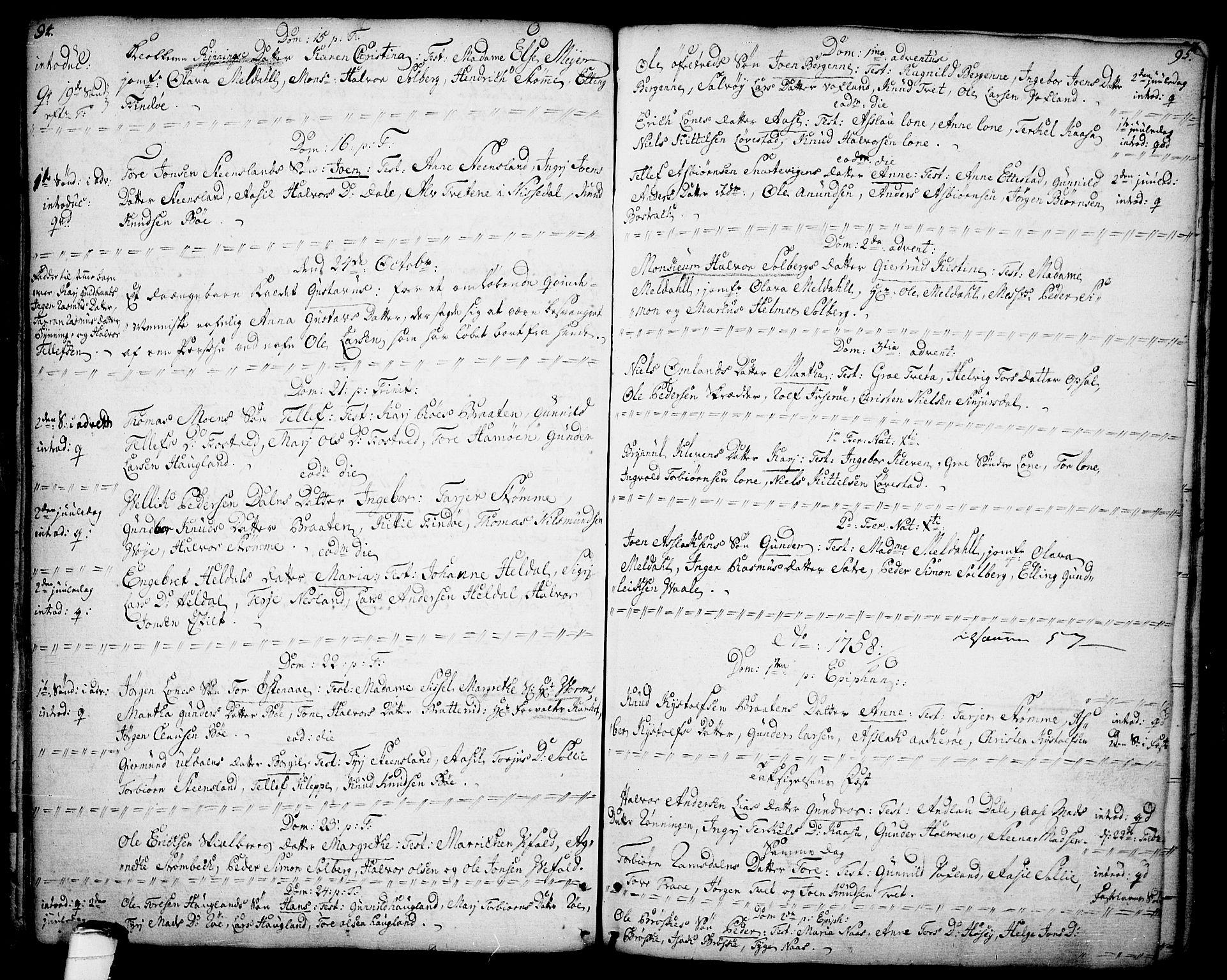 SAKO, Drangedal kirkebøker, F/Fa/L0001: Ministerialbok nr. 1, 1697-1767, s. 94-95