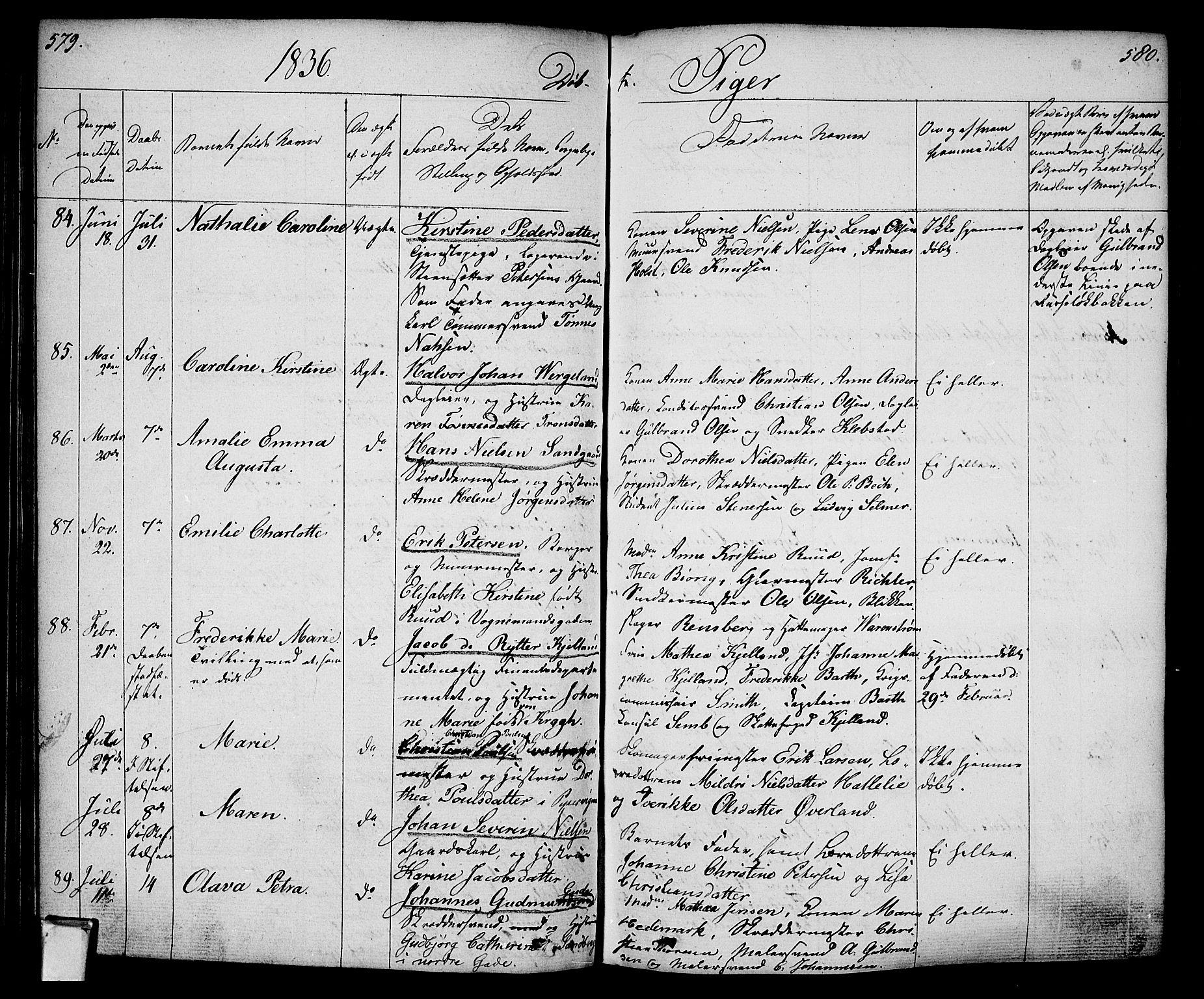 SAO, Oslo domkirke Kirkebøker, F/Fa/L0011: Ministerialbok nr. 11, 1830-1836, s. 579-580