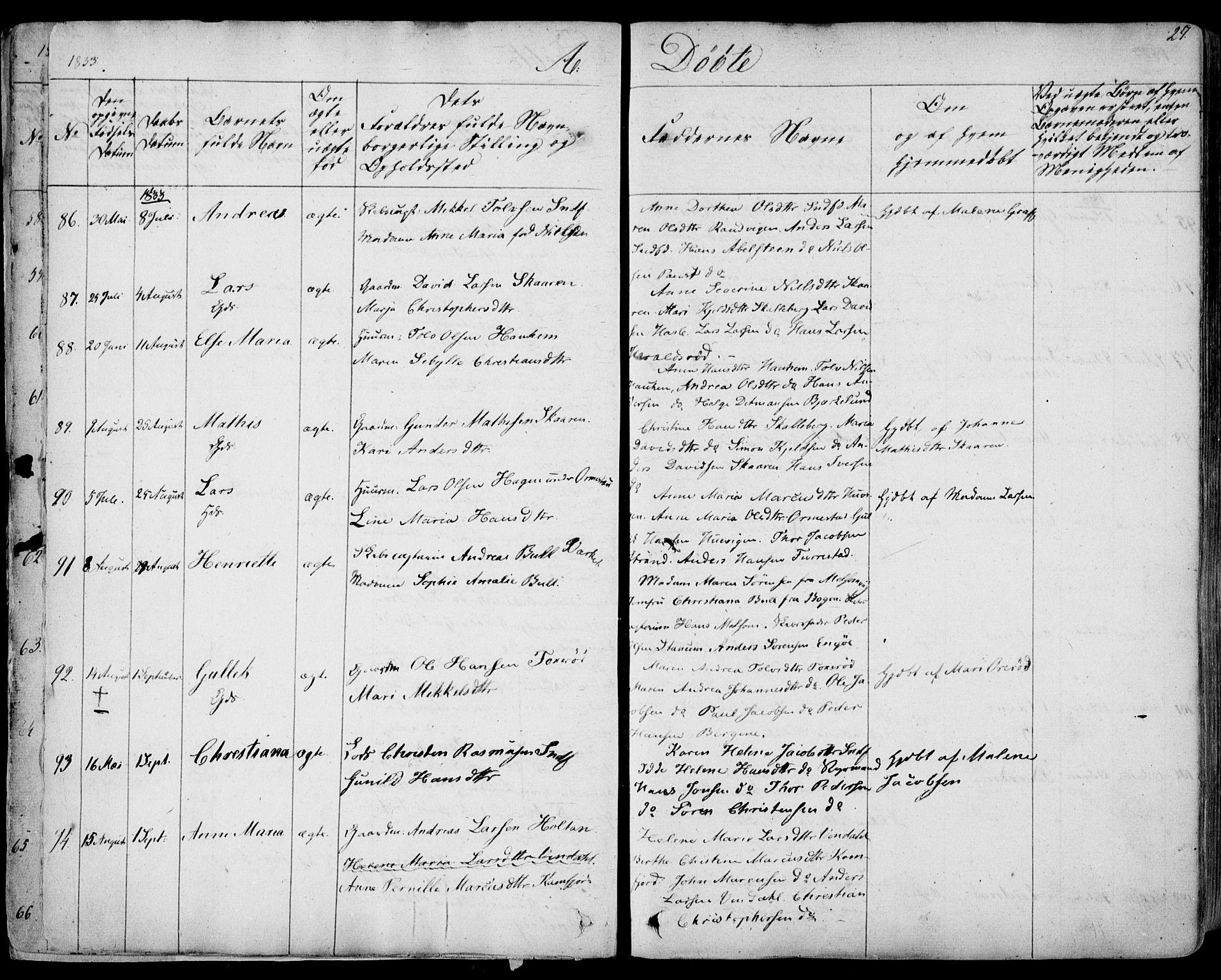 SAKO, Sandar kirkebøker, F/Fa/L0005: Ministerialbok nr. 5, 1832-1847, s. 26-27