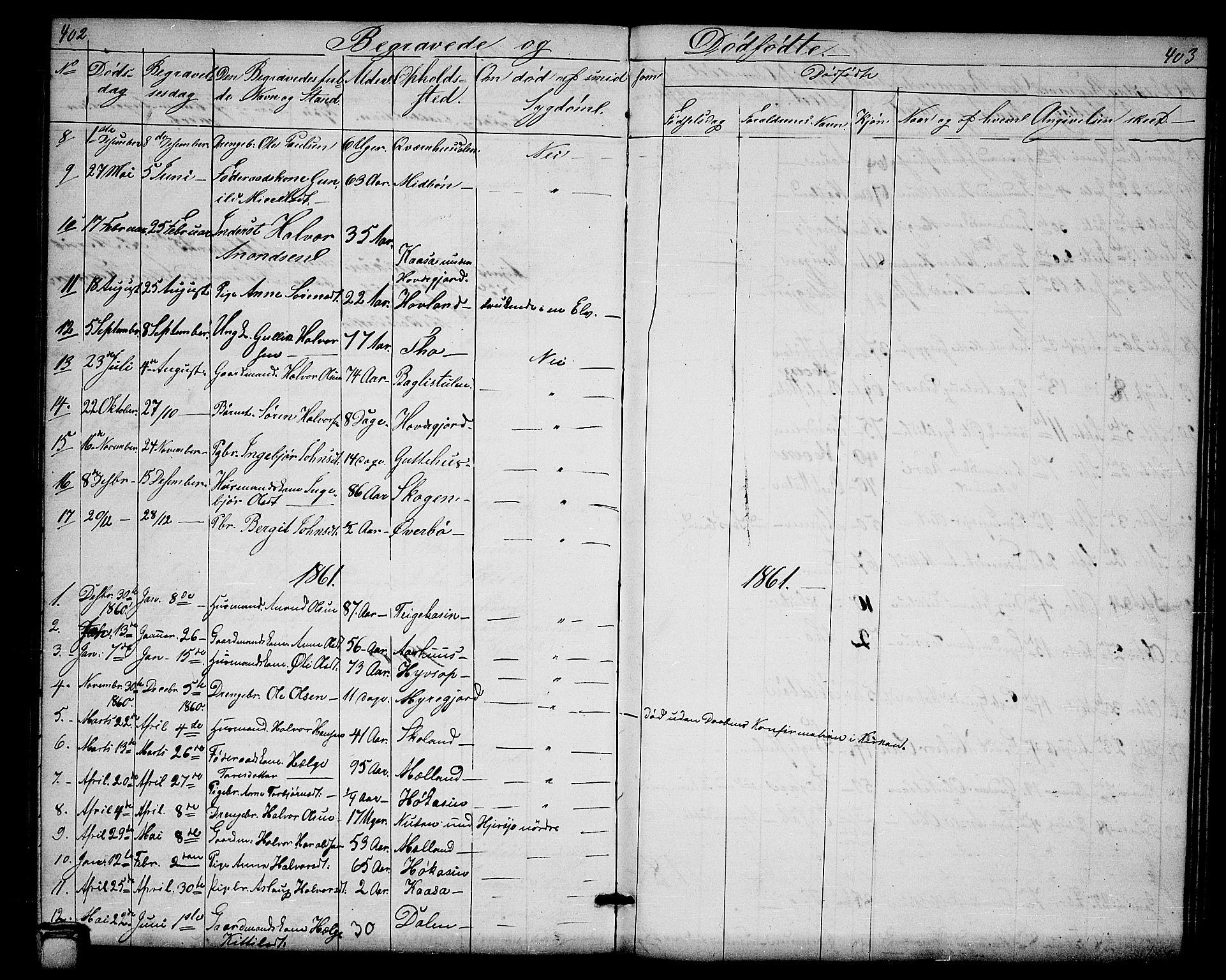 SAKO, Hjartdal kirkebøker, G/Ga/L0002: Klokkerbok nr. I 2, 1854-1888, s. 402-403