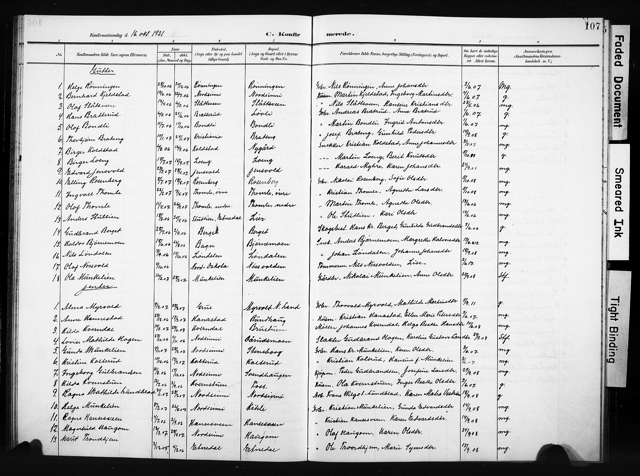 SAH, Nordre Land prestekontor, Klokkerbok nr. 6, 1905-1929, s. 107