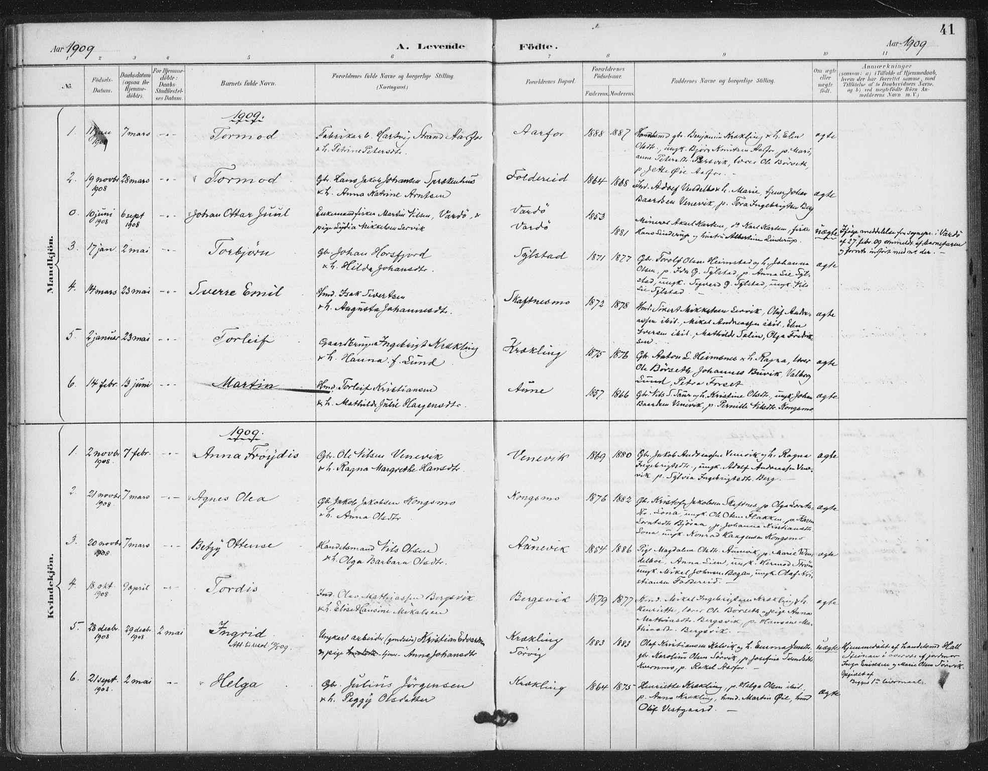 SAT, Ministerialprotokoller, klokkerbøker og fødselsregistre - Nord-Trøndelag, 783/L0660: Ministerialbok nr. 783A02, 1886-1918, s. 41