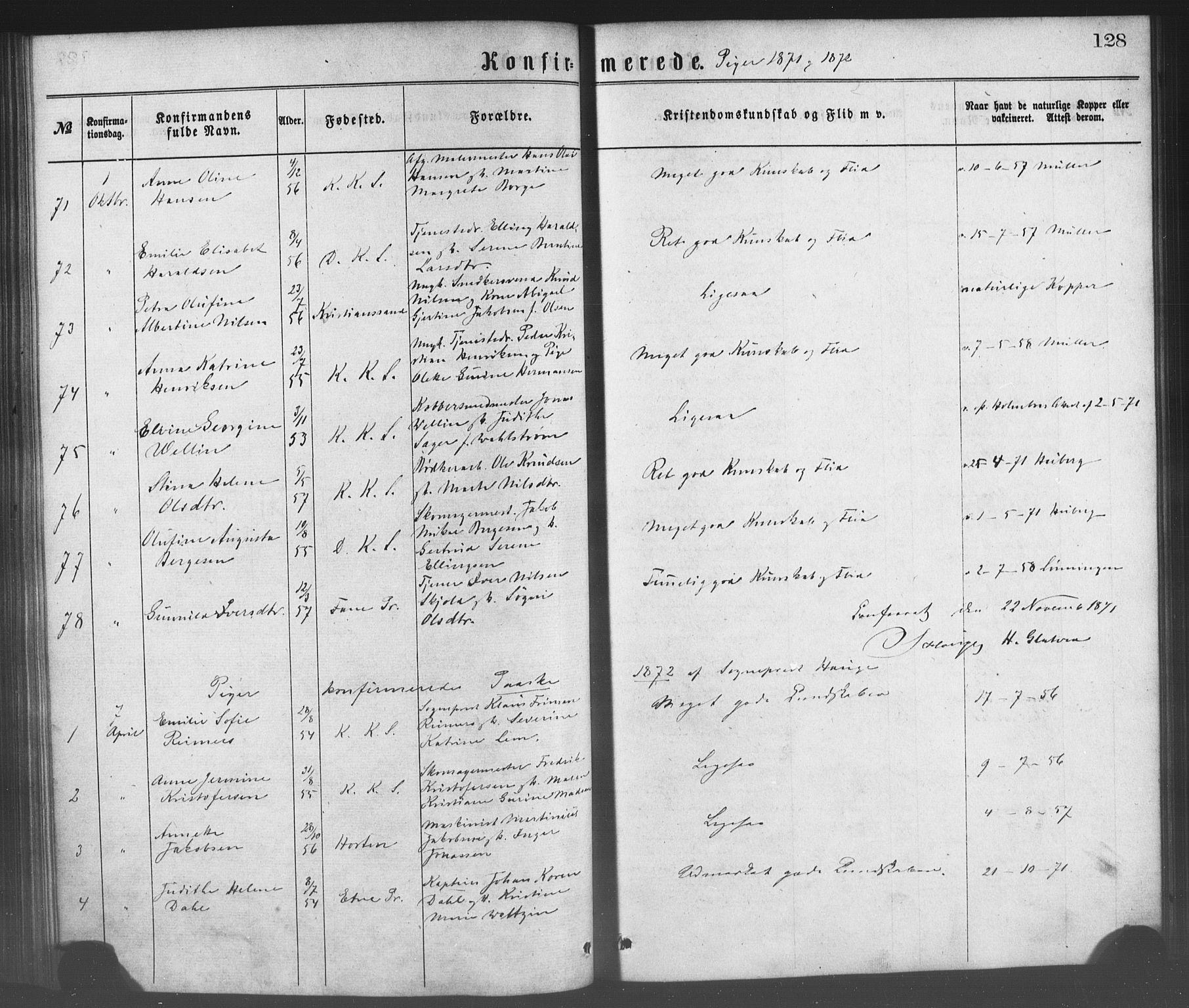 SAB, Korskirken Sokneprestembete, H/Haa/L0028: Ministerialbok nr. C 4, 1868-1879, s. 128