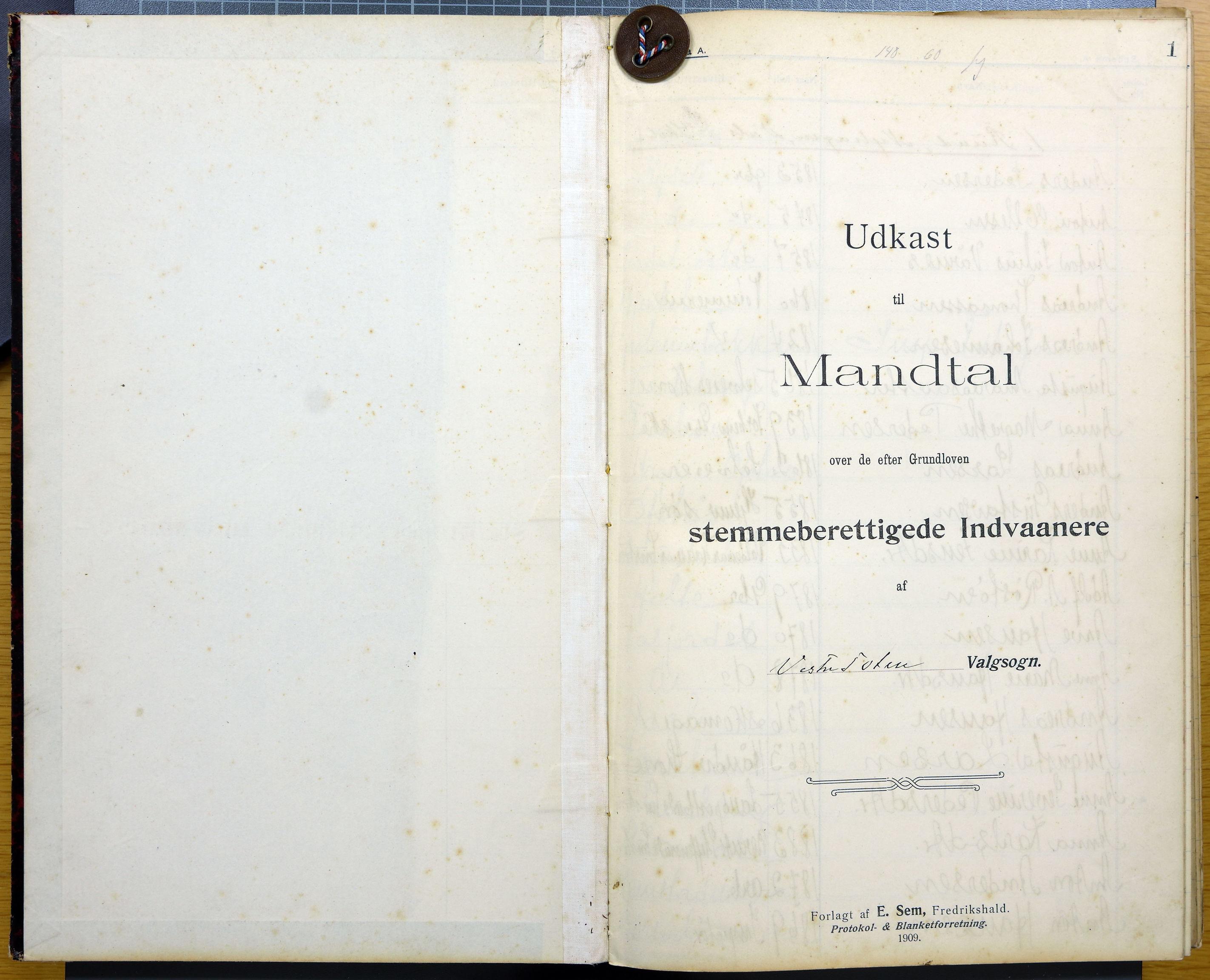 KVT, Vestre Toten kommunearkiv*, -: Utkast til manntall over stemmeberettigede innbyggere i Vestre Toten valgsokn, 1909, s. 1