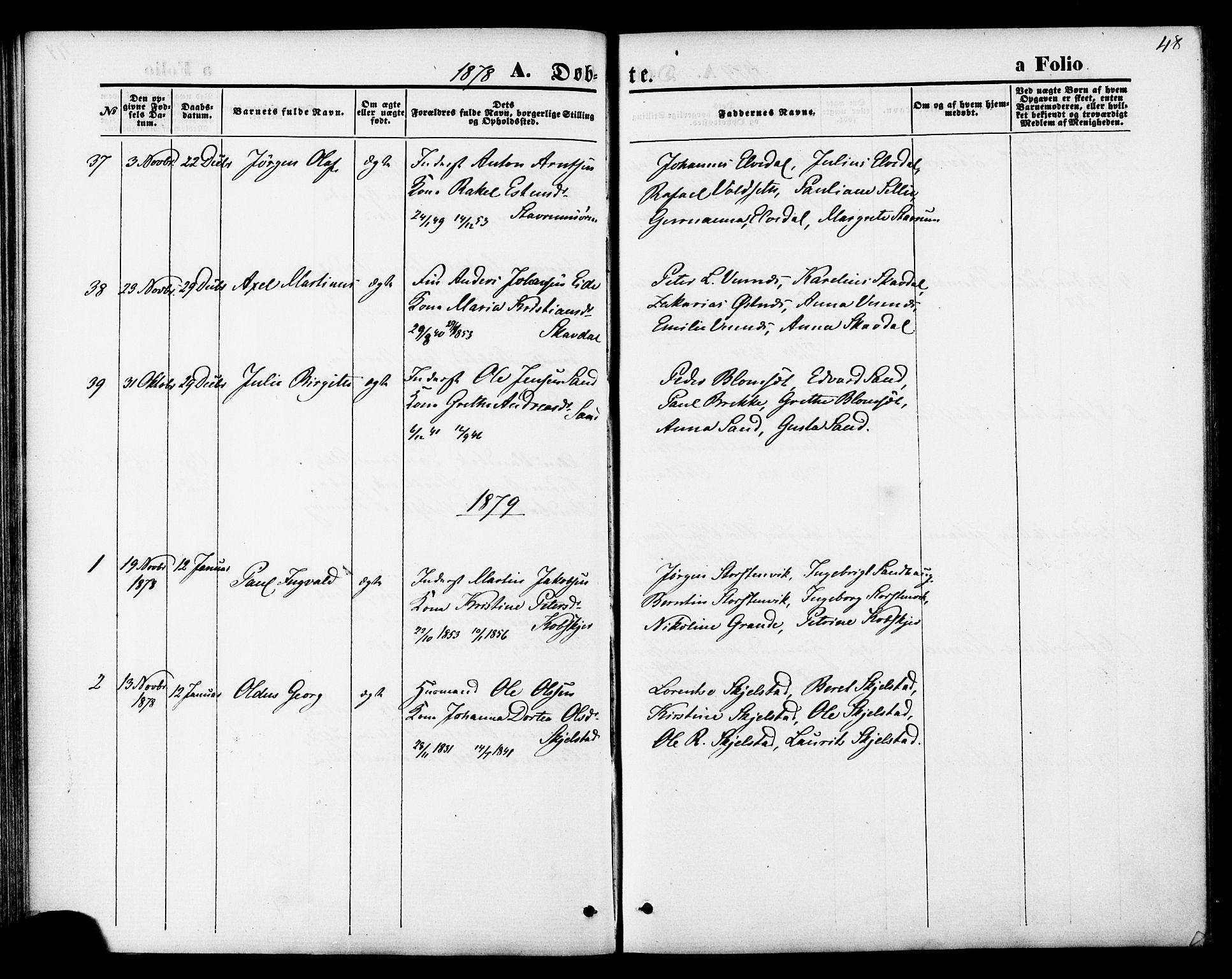 SAT, Ministerialprotokoller, klokkerbøker og fødselsregistre - Nord-Trøndelag, 744/L0419: Ministerialbok nr. 744A03, 1867-1881, s. 48