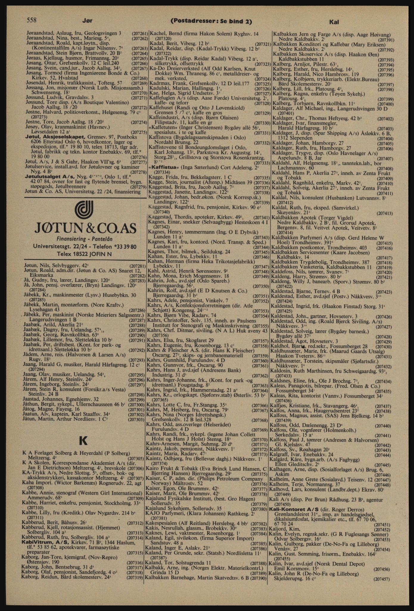 PUBL, Kristiania/Oslo adressebok, 1976-1977, s. 558