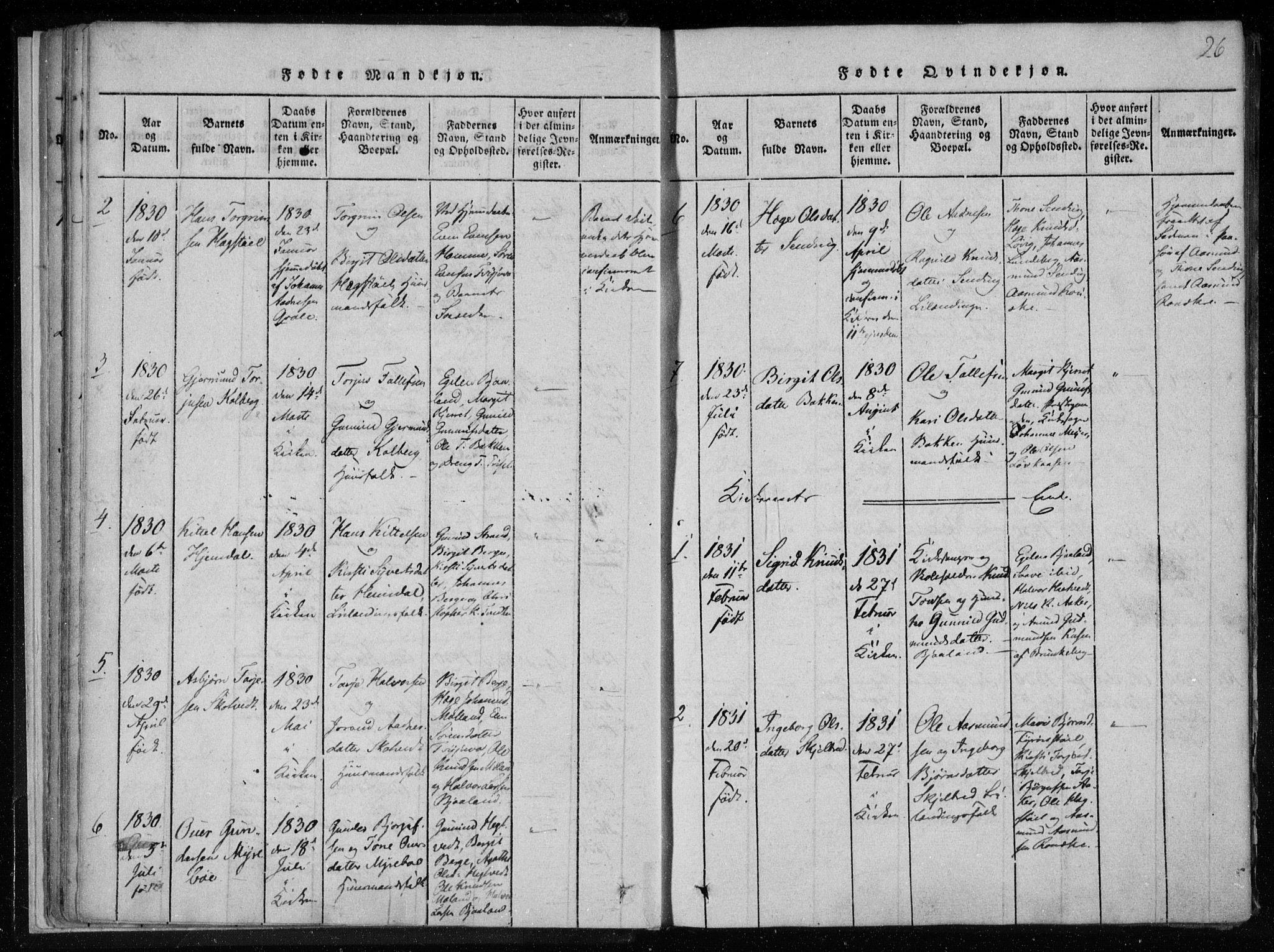 SAKO, Lårdal kirkebøker, F/Fa/L0005: Ministerialbok nr. I 5, 1815-1860, s. 26