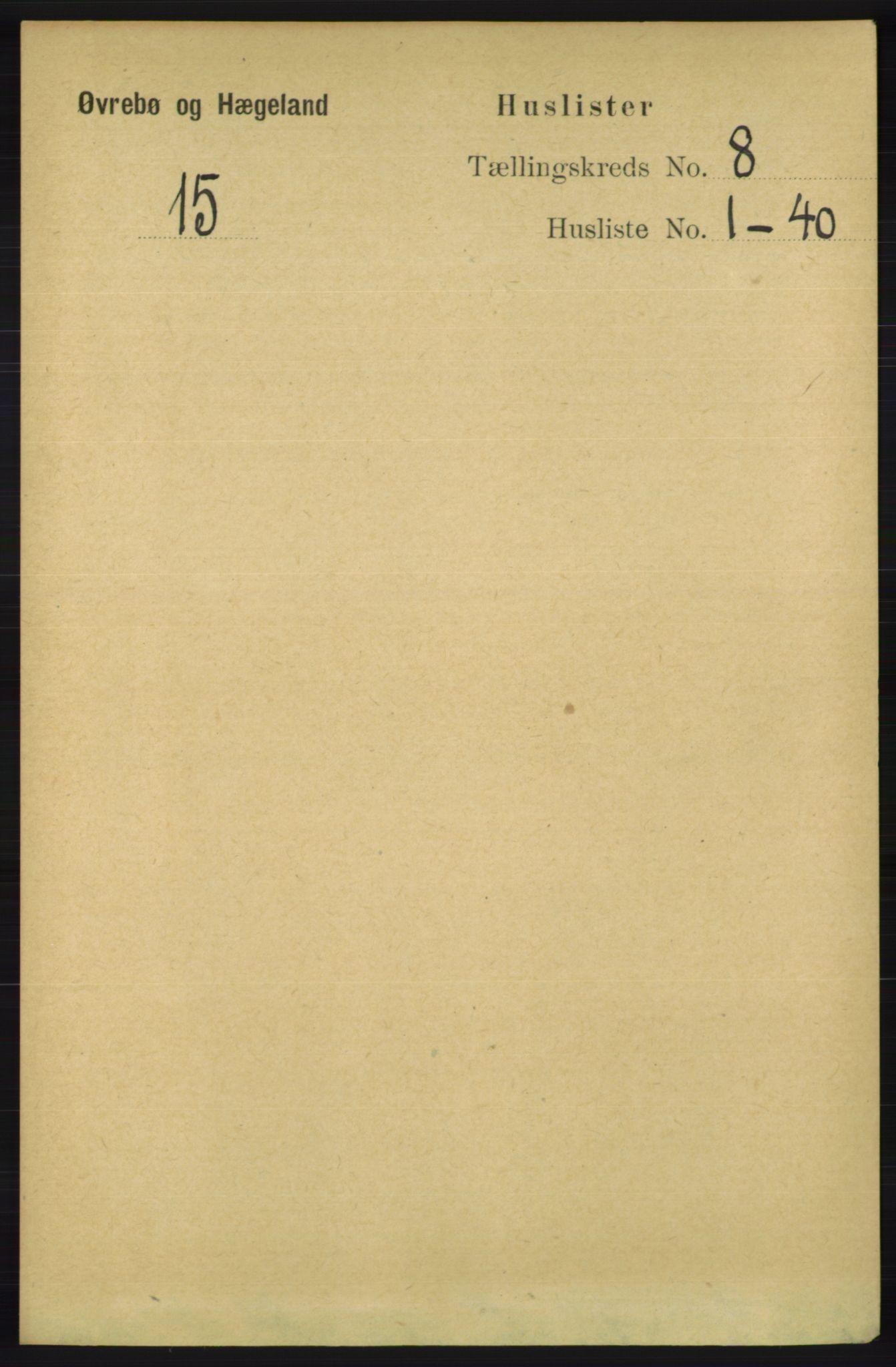 RA, Folketelling 1891 for 1016 Øvrebø og Hægeland herred, 1891, s. 1431