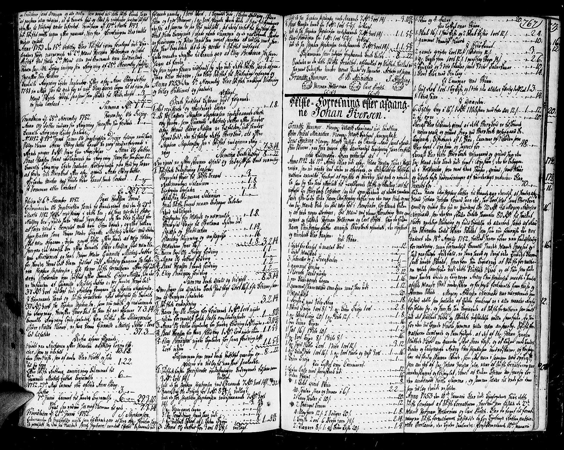SAT, Trondheim byfogd, 3/3A/L0017: Skifteprotokoll - gml.nr.14b. (m/ register), 1751-1753, s. 767