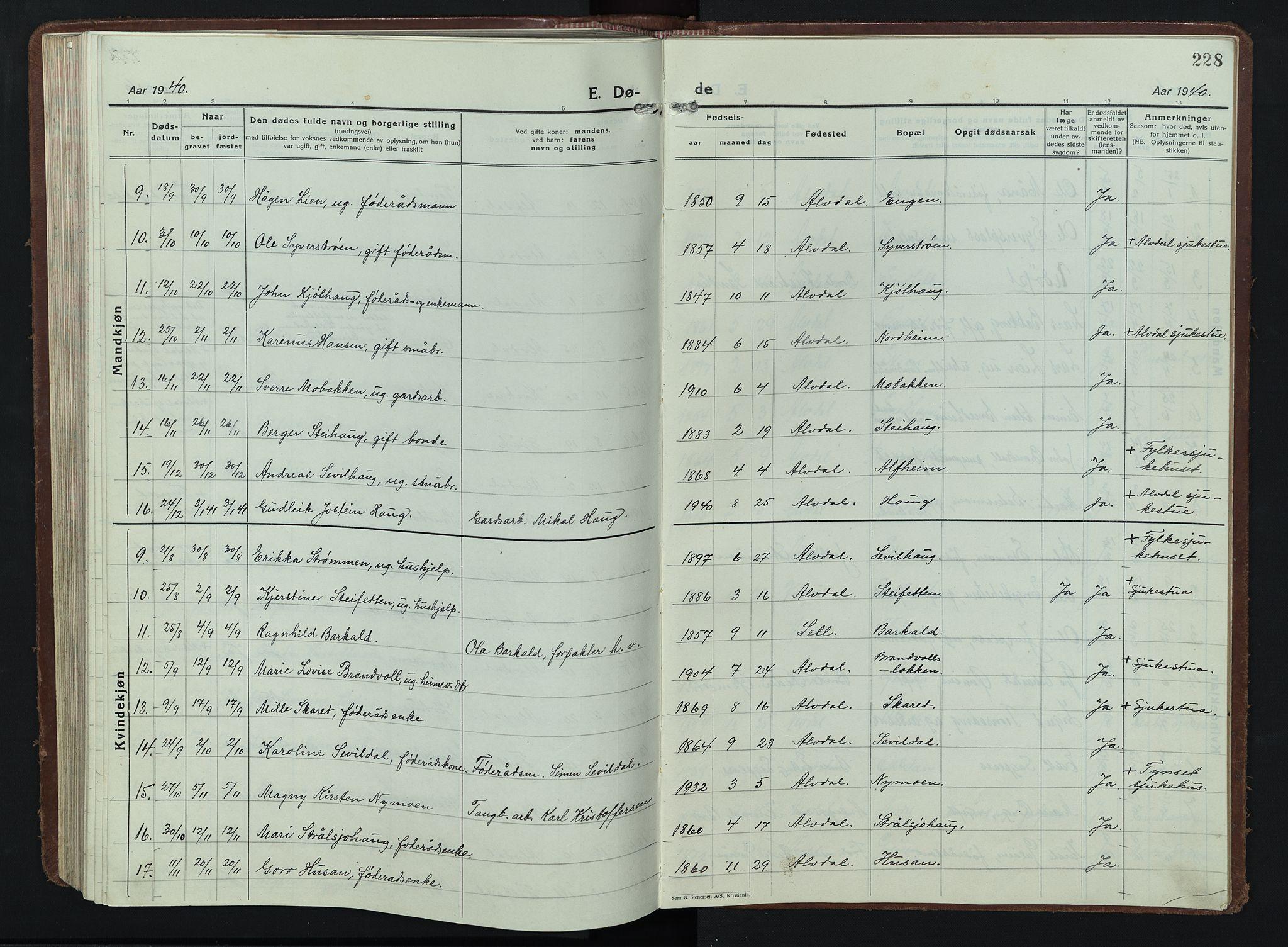 SAH, Alvdal prestekontor, Klokkerbok nr. 7, 1924-1945, s. 228