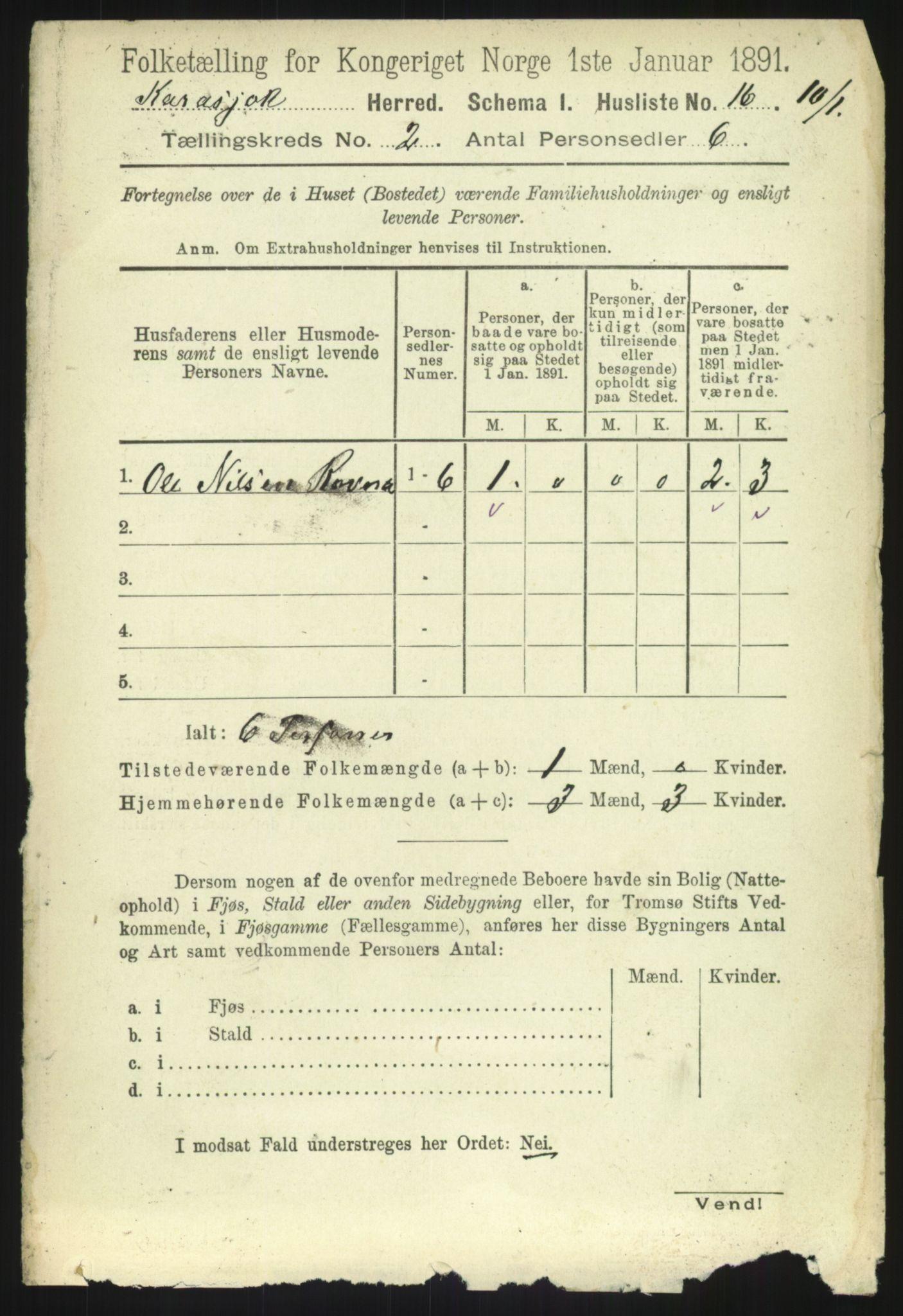 RA, Folketelling 1891 for 2021 Karasjok herred, 1891, s. 433