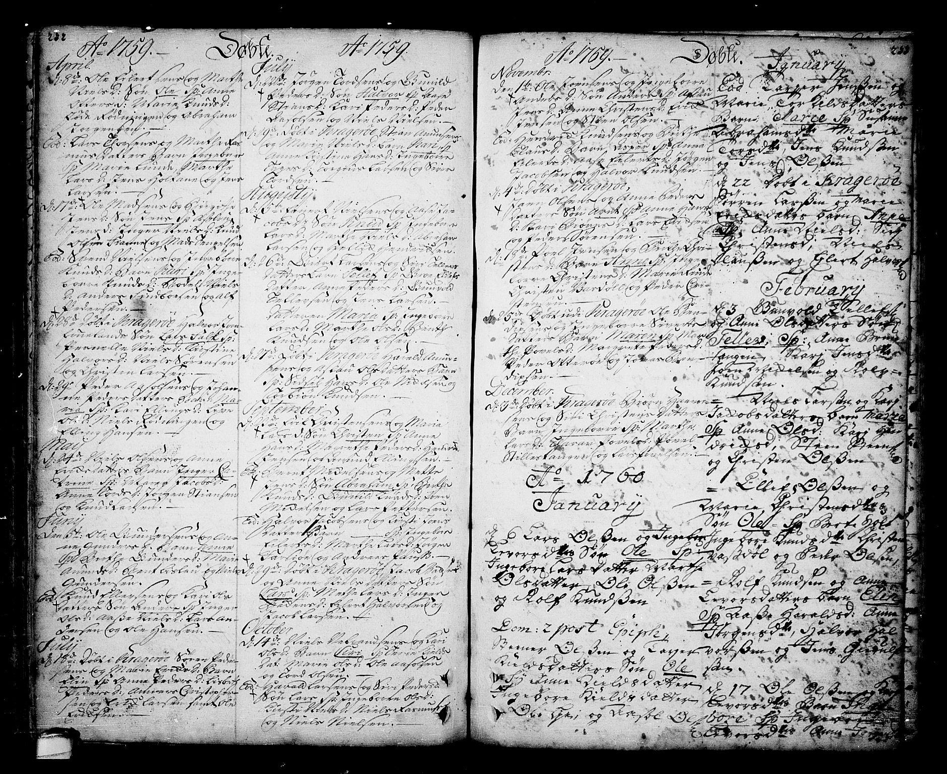 SAKO, Sannidal kirkebøker, F/Fa/L0001: Ministerialbok nr. 1, 1702-1766, s. 232-233