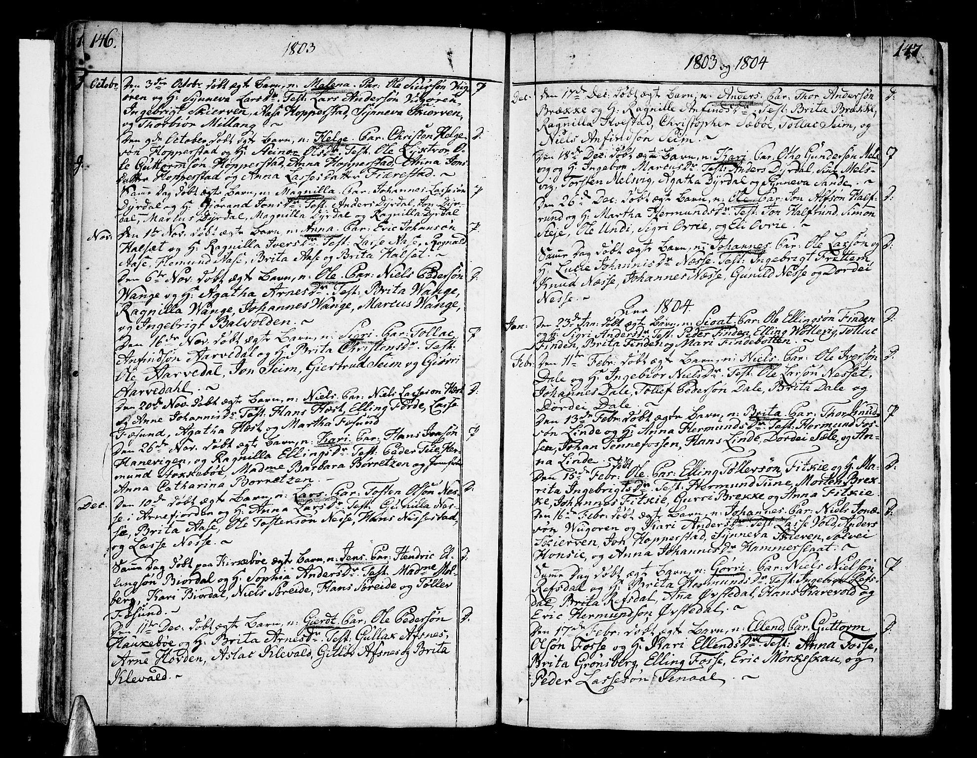 SAB, Vik Sokneprestembete, Ministerialbok nr. A 5, 1787-1820, s. 146-147