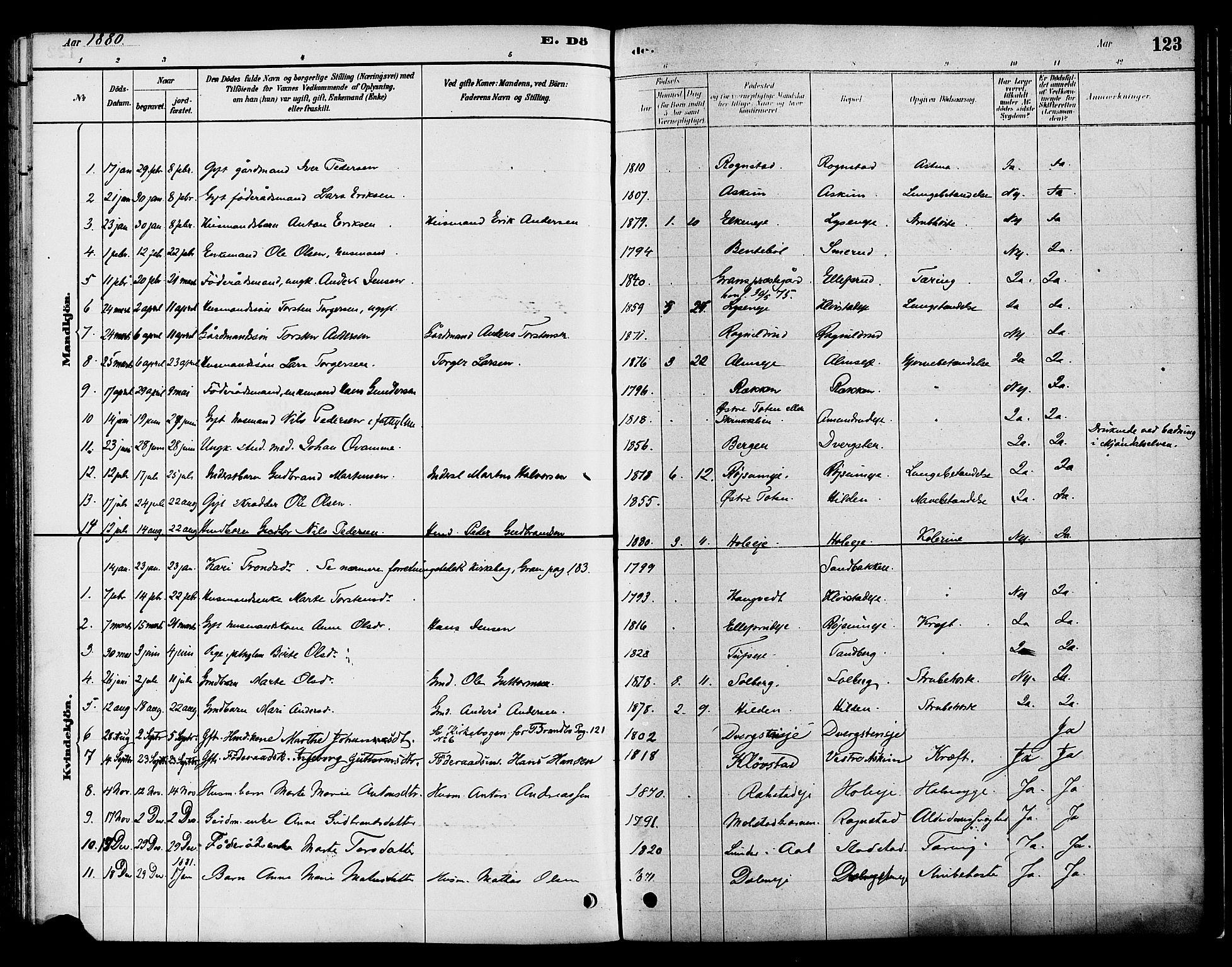 SAH, Gran prestekontor, Ministerialbok nr. 16, 1880-1888, s. 123