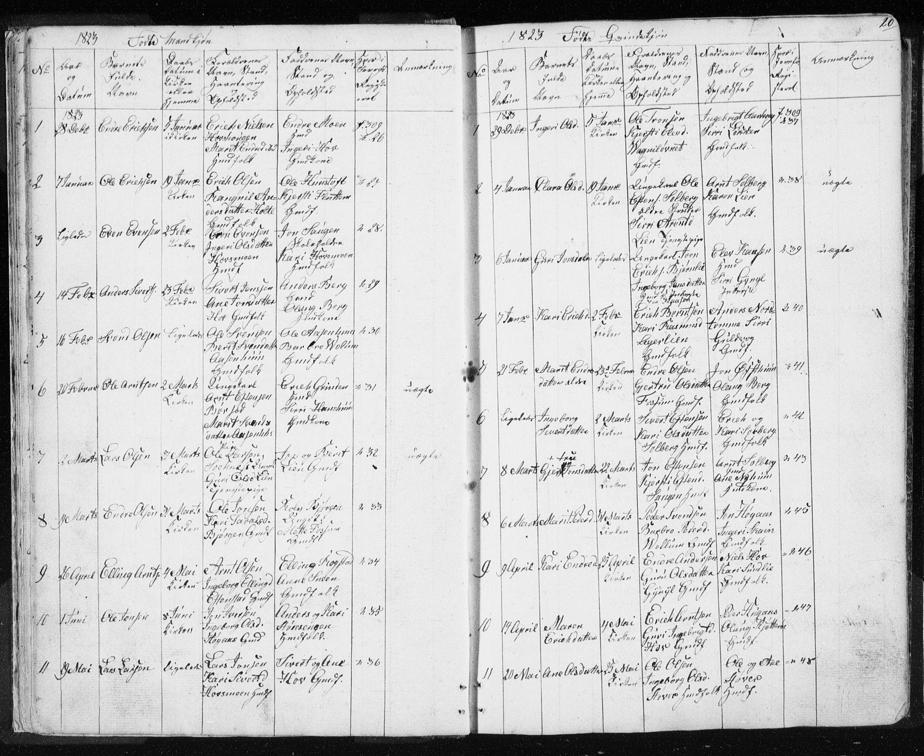 SAT, Ministerialprotokoller, klokkerbøker og fødselsregistre - Sør-Trøndelag, 689/L1043: Klokkerbok nr. 689C02, 1816-1892, s. 20