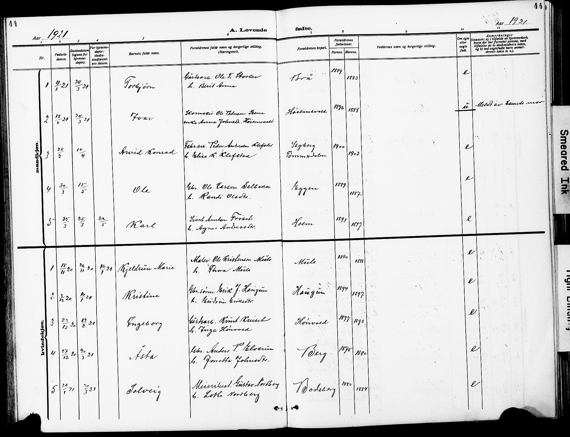 SAT, Ministerialprotokoller, klokkerbøker og fødselsregistre - Sør-Trøndelag, 612/L0388: Klokkerbok nr. 612C04, 1909-1929, s. 44
