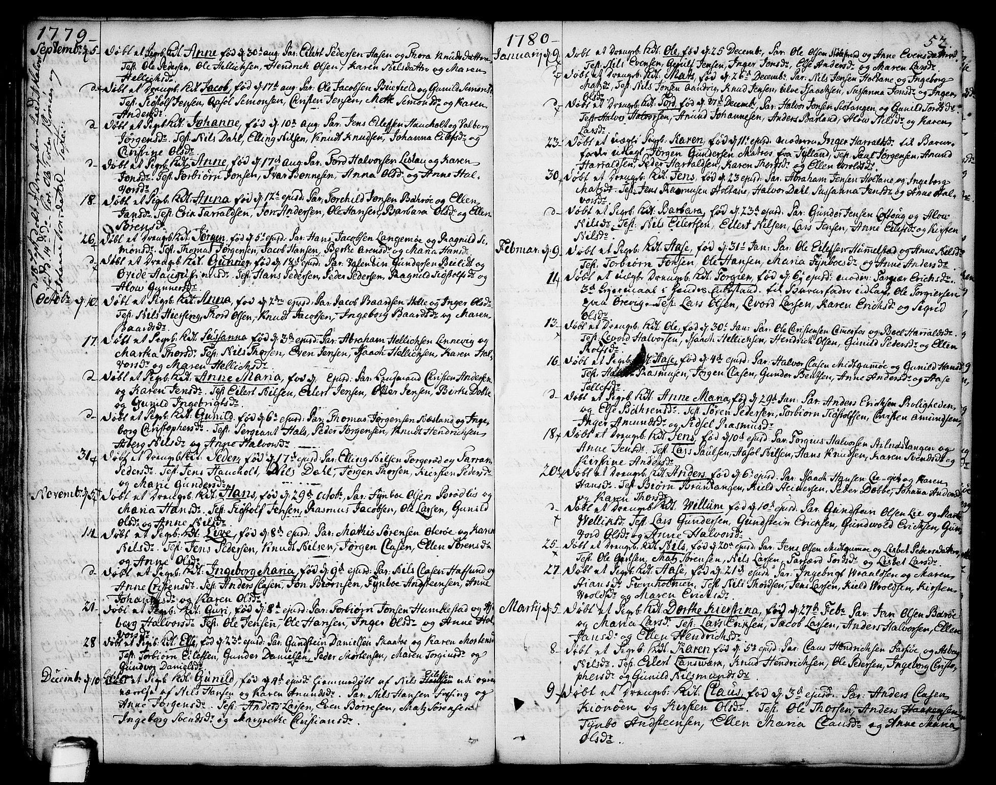 SAKO, Sannidal kirkebøker, F/Fa/L0002: Ministerialbok nr. 2, 1767-1802, s. 52