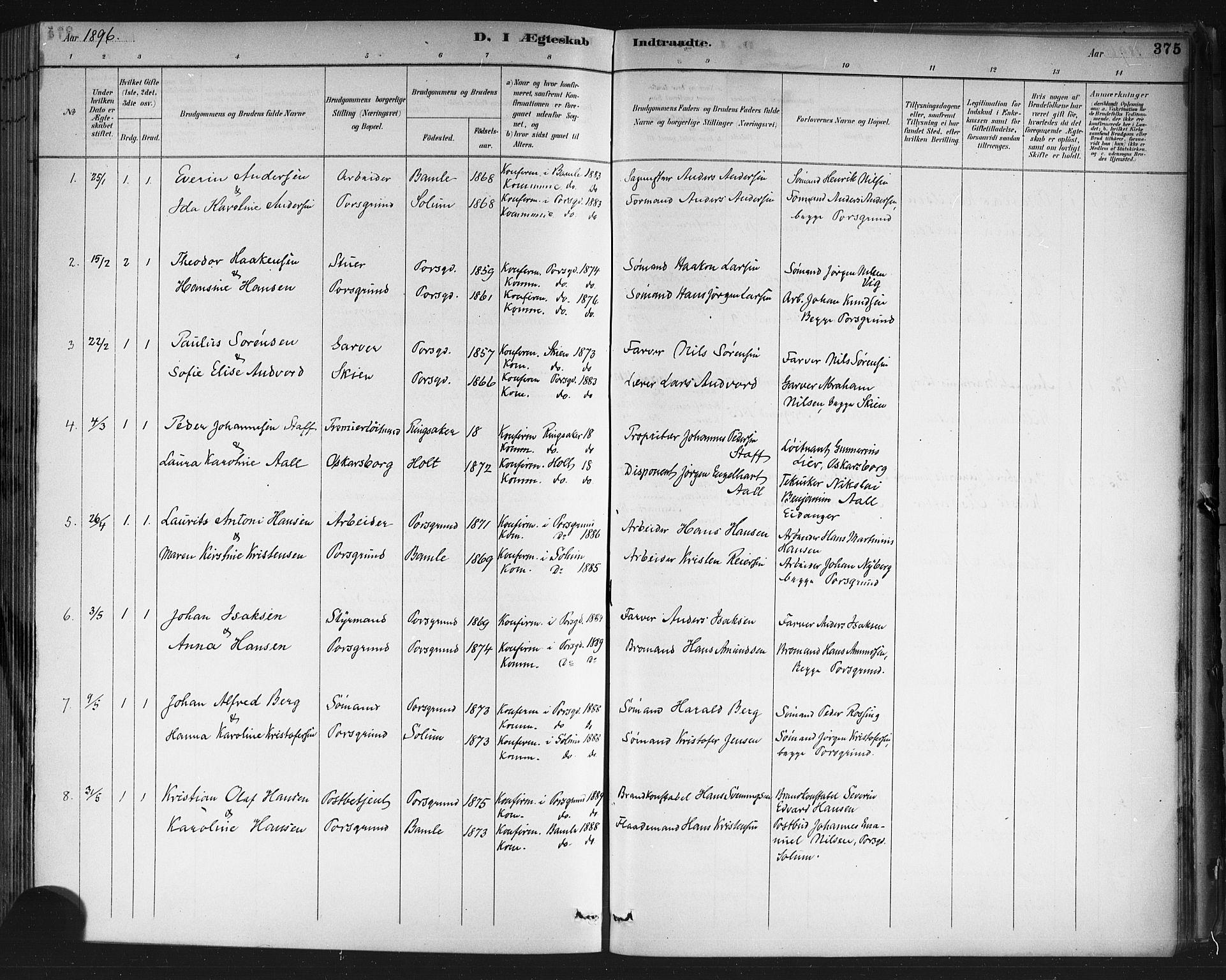 SAKO, Porsgrunn kirkebøker , G/Gb/L0005: Klokkerbok nr. II 5, 1883-1915, s. 375