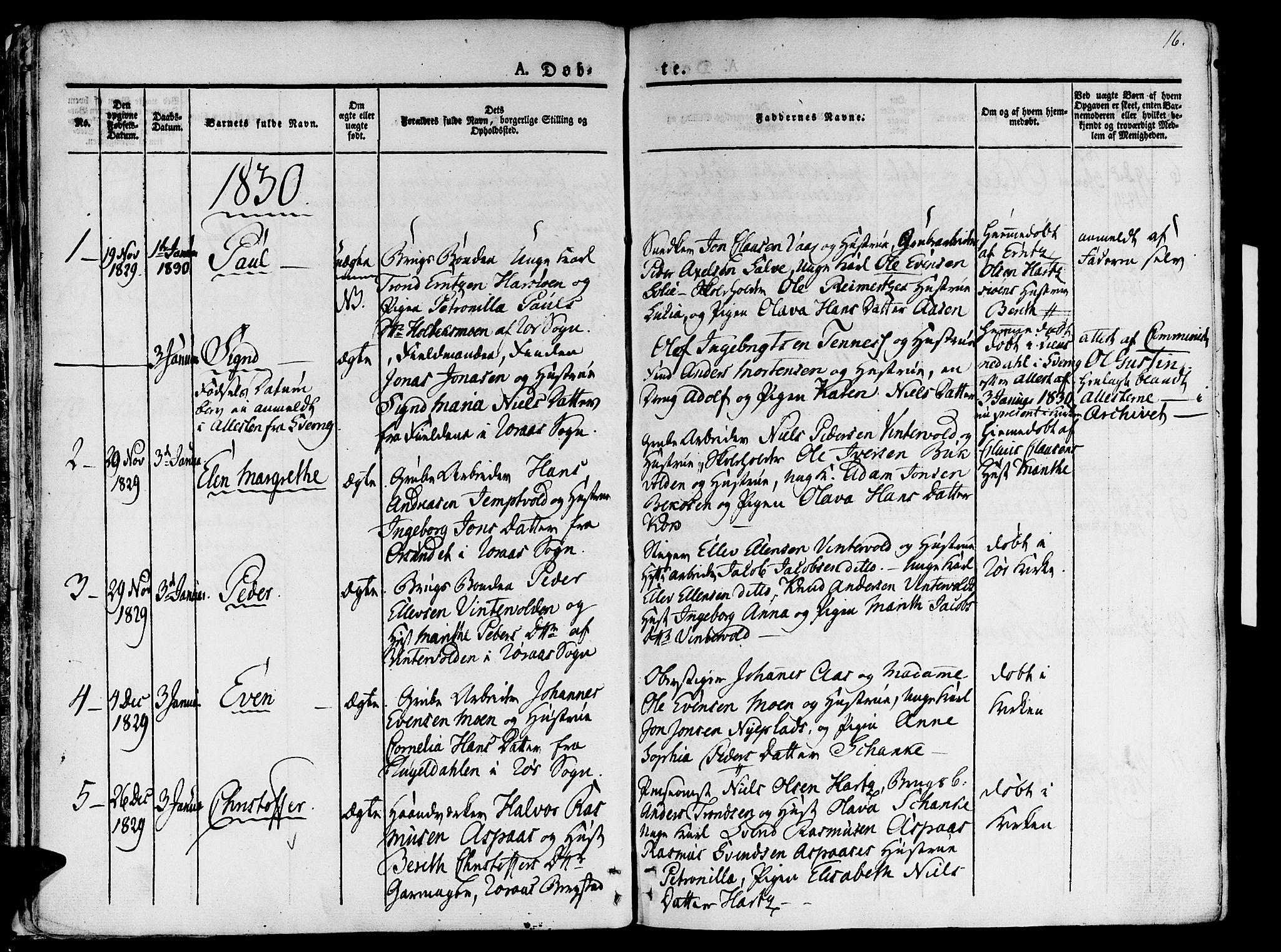 SAT, Ministerialprotokoller, klokkerbøker og fødselsregistre - Sør-Trøndelag, 681/L0930: Ministerialbok nr. 681A08, 1829-1844, s. 16