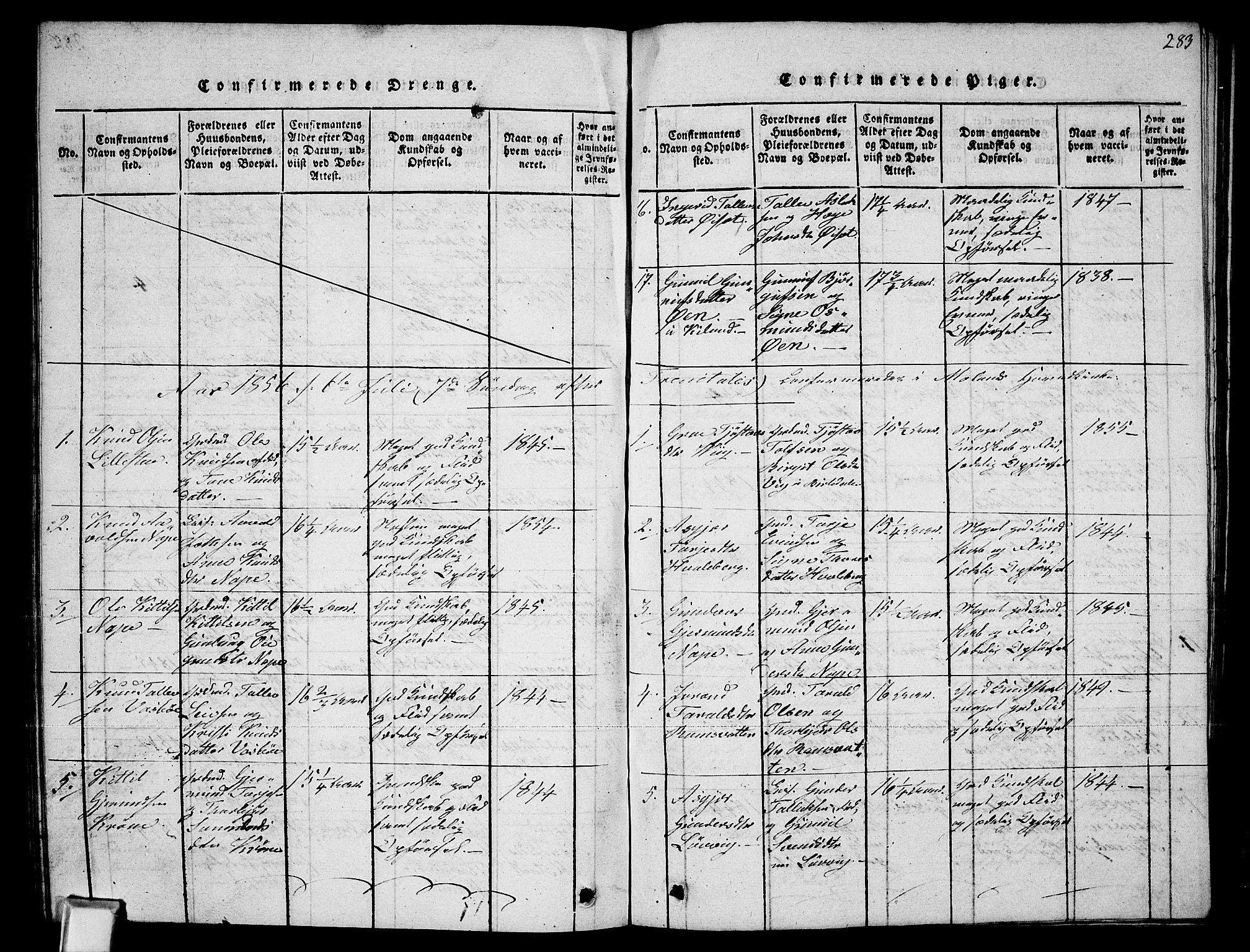 SAKO, Fyresdal kirkebøker, G/Ga/L0002: Klokkerbok nr. I 2, 1815-1857, s. 283