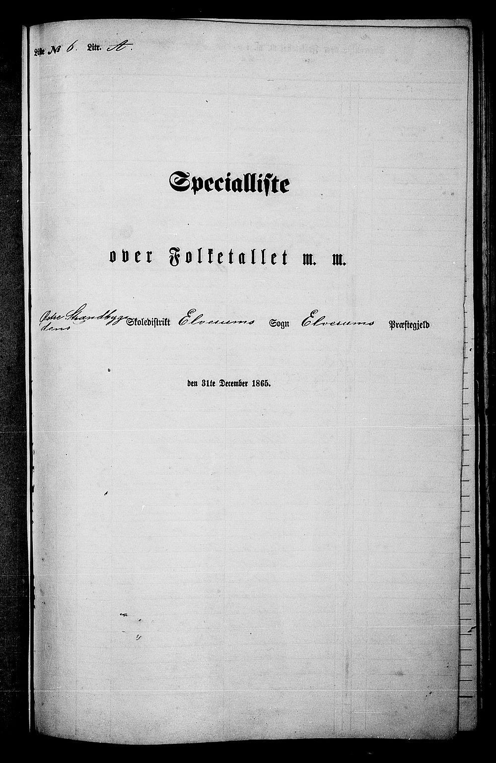 RA, Folketelling 1865 for 0427P Elverum prestegjeld, 1865, s. 135