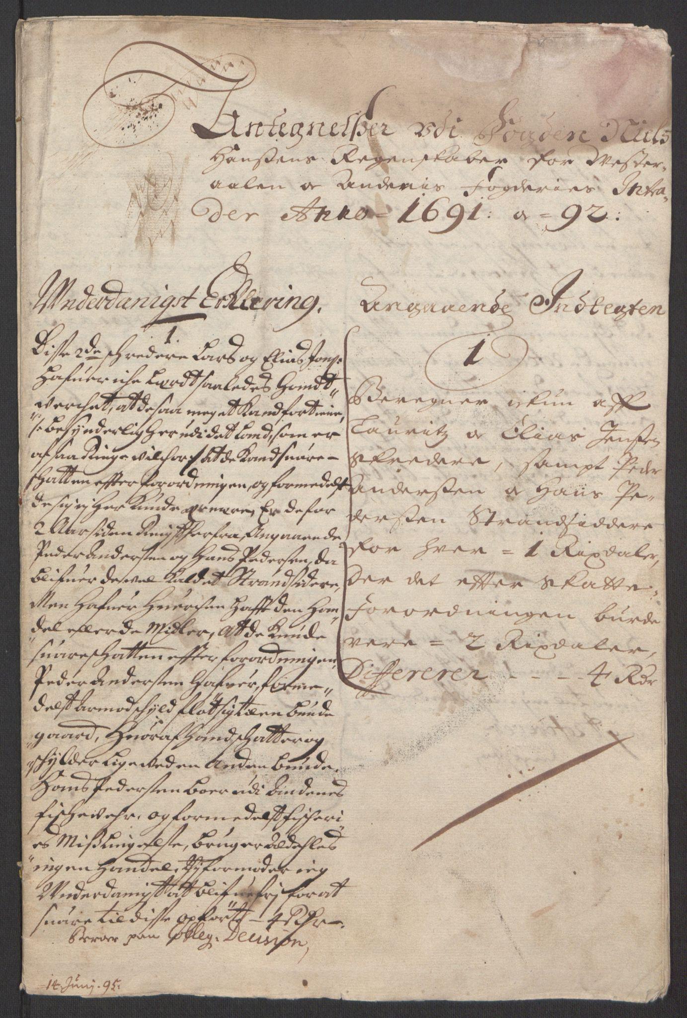 RA, Rentekammeret inntil 1814, Reviderte regnskaper, Fogderegnskap, R67/L4676: Fogderegnskap Vesterålen, Andenes og Lofoten, 1691-1693, s. 223
