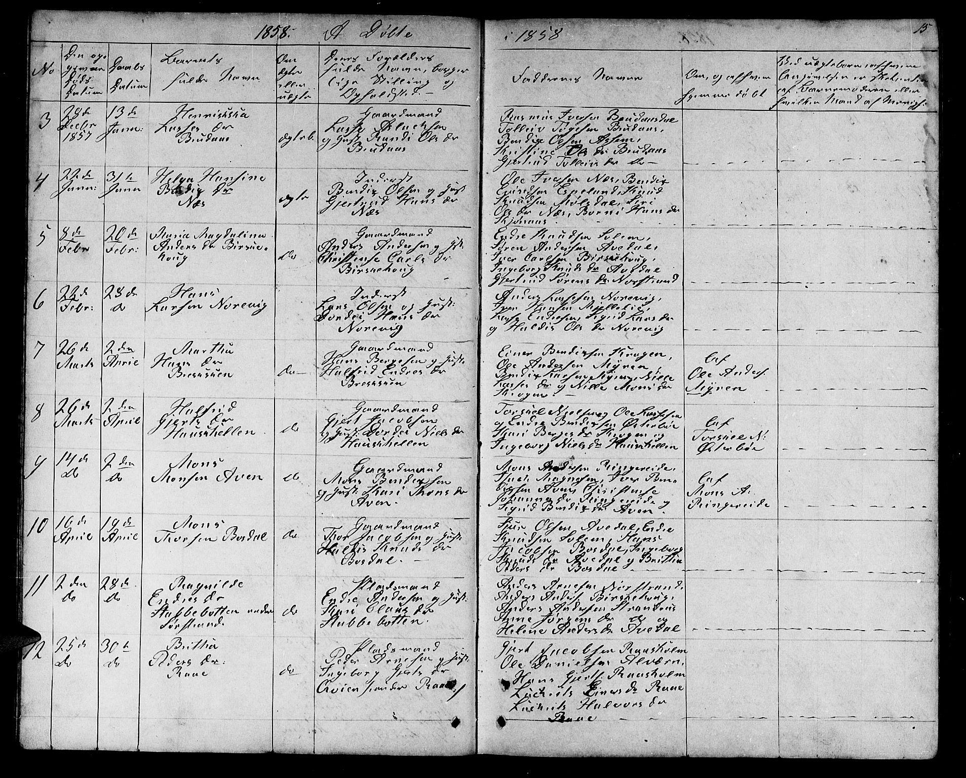 SAB, Lavik sokneprestembete, Klokkerbok nr. A 1, 1854-1881, s. 15