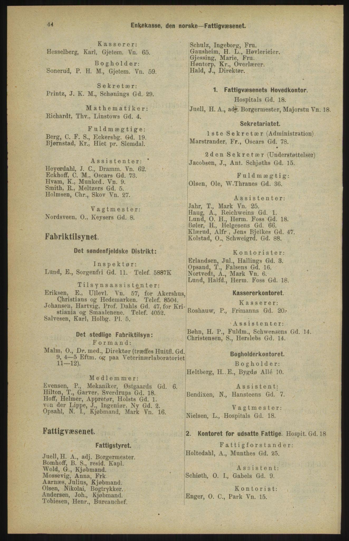 RA, Kristiania adressebok (publikasjon)*, 1904, s. 44