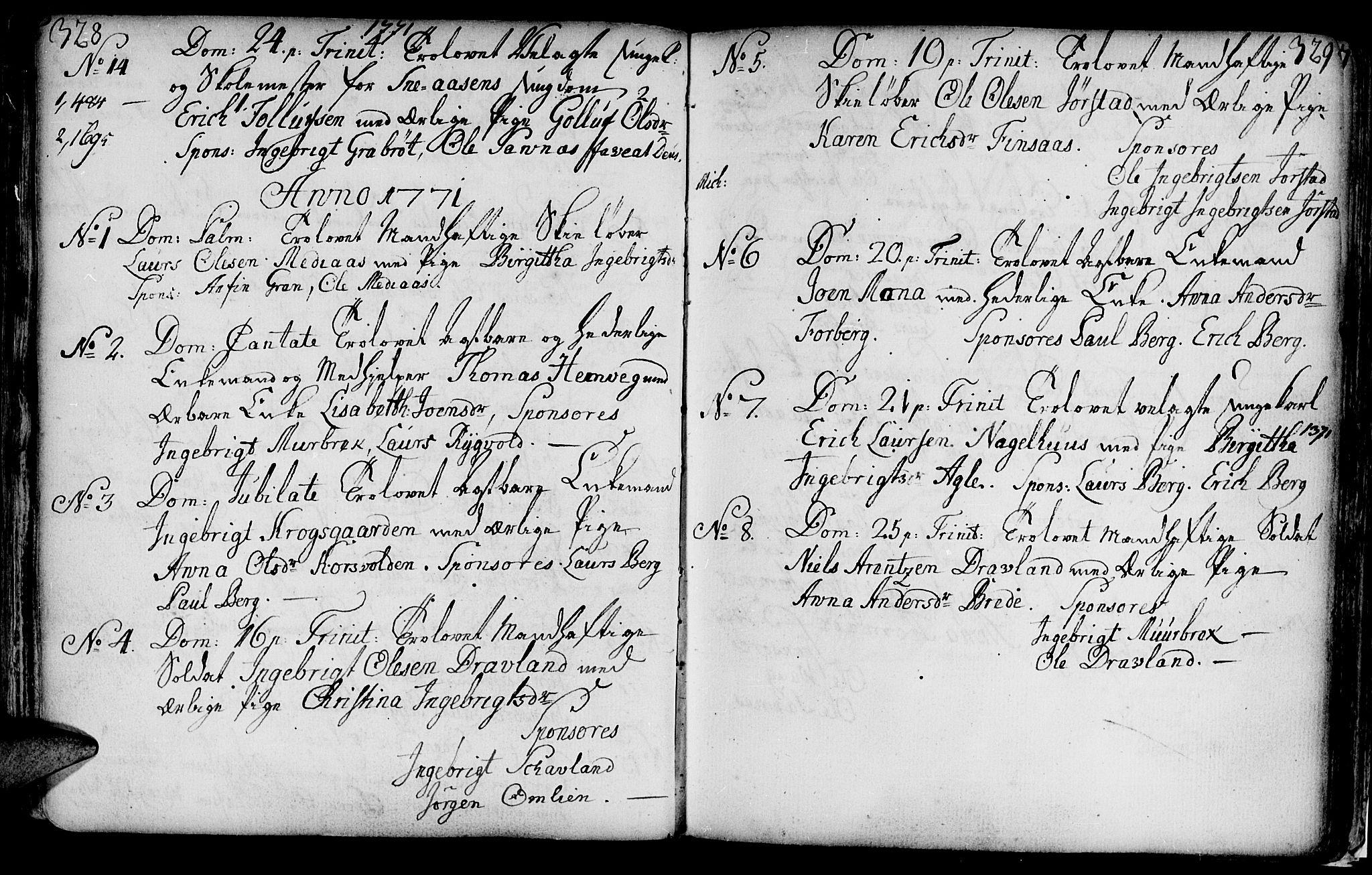 SAT, Ministerialprotokoller, klokkerbøker og fødselsregistre - Nord-Trøndelag, 749/L0467: Ministerialbok nr. 749A01, 1733-1787, s. 328-329