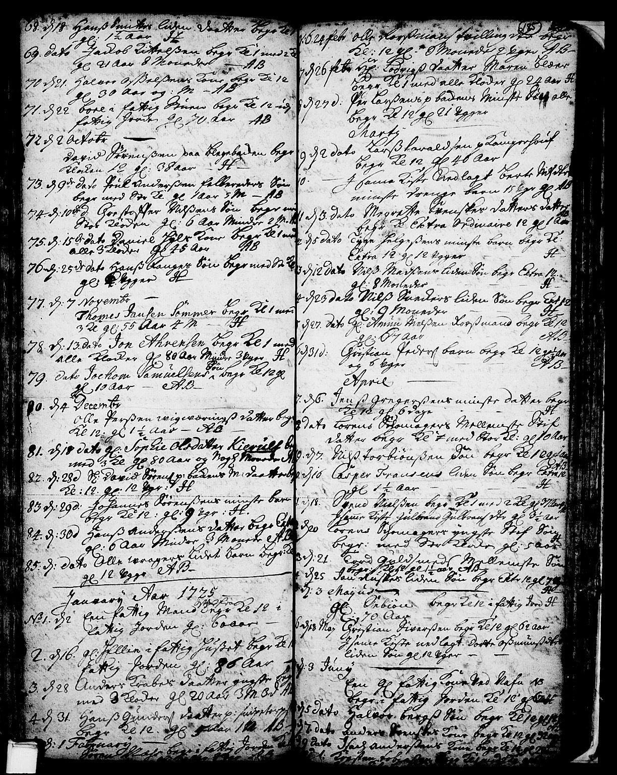 SAKO, Skien kirkebøker, F/Fa/L0002: Ministerialbok nr. 2, 1716-1757, s. 185